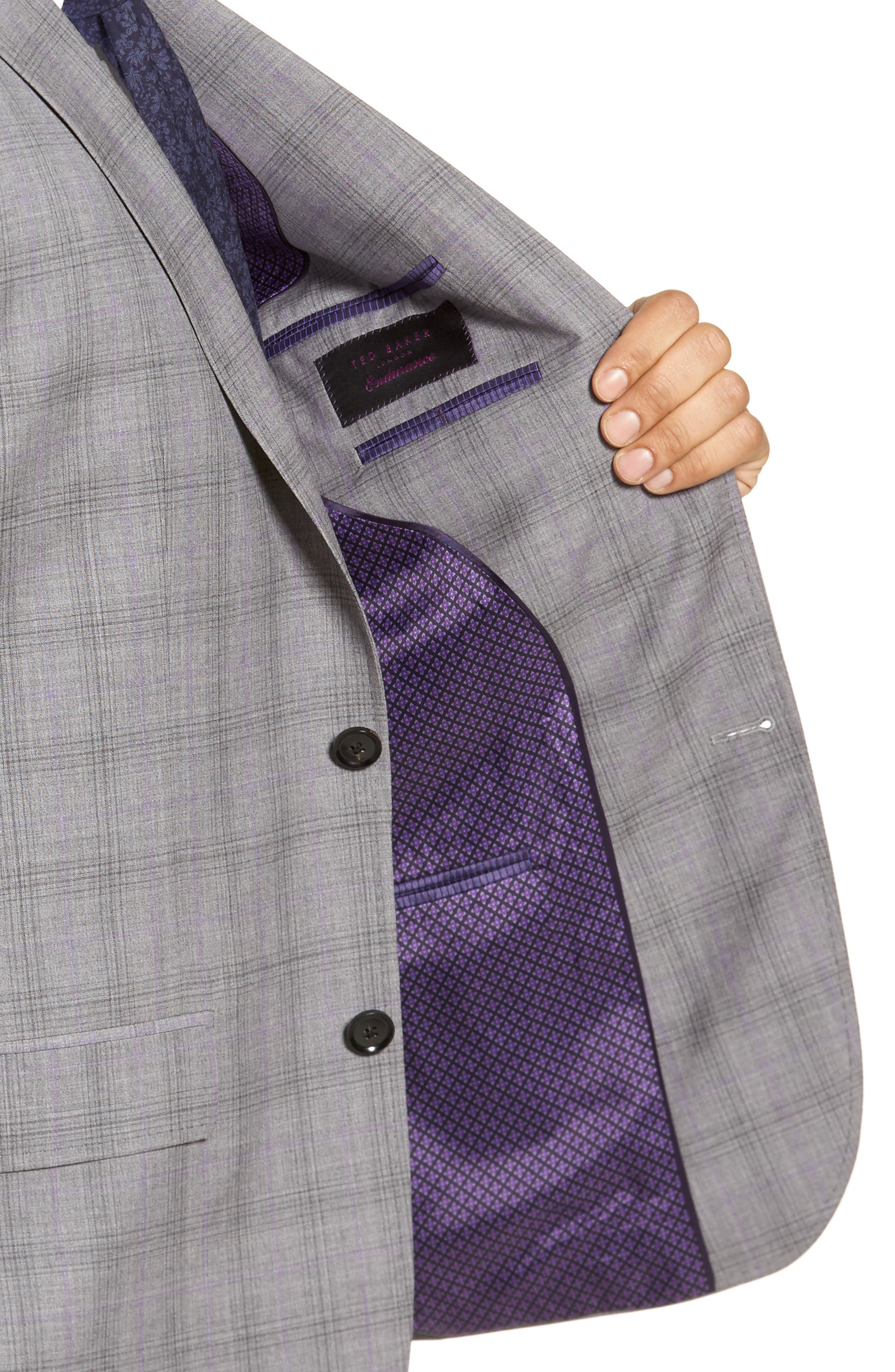 Jay Trim Fit Plaid Wool Suit,                             Alternate thumbnail 4, color,                             Light Grey