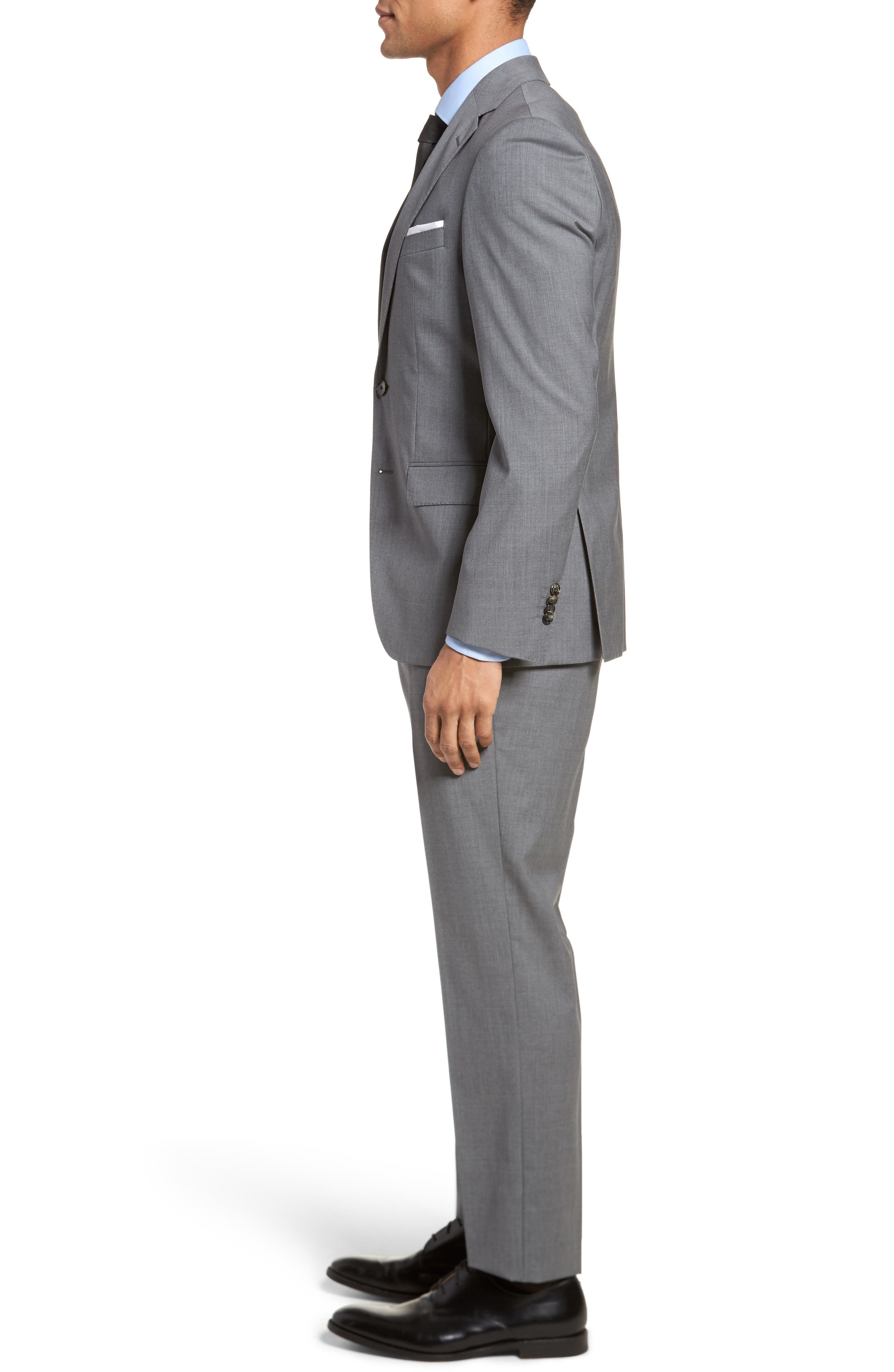 Johnstons/Lenon Classic Fit Solid Wool Suit,                             Alternate thumbnail 3, color,                             Medium Grey