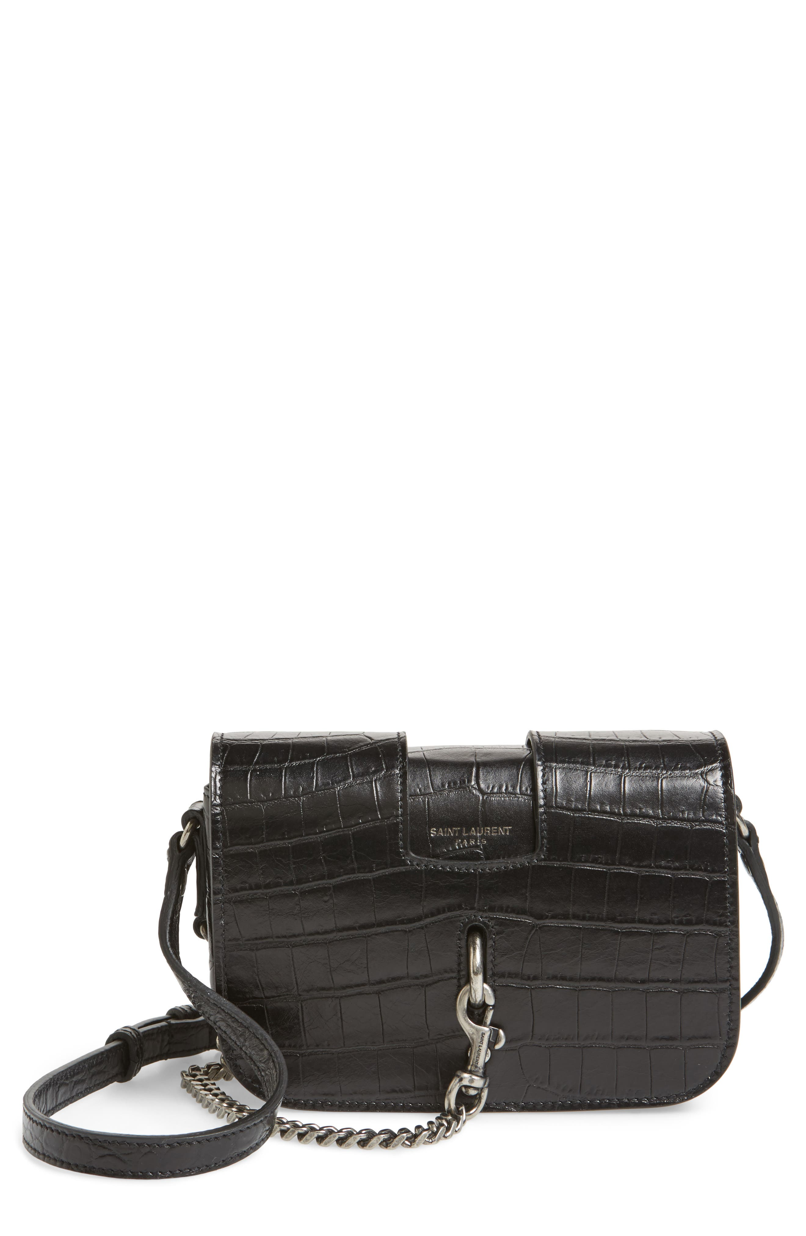 Croc Embossed Leather Crossbody Bag,                         Main,                         color, Noir