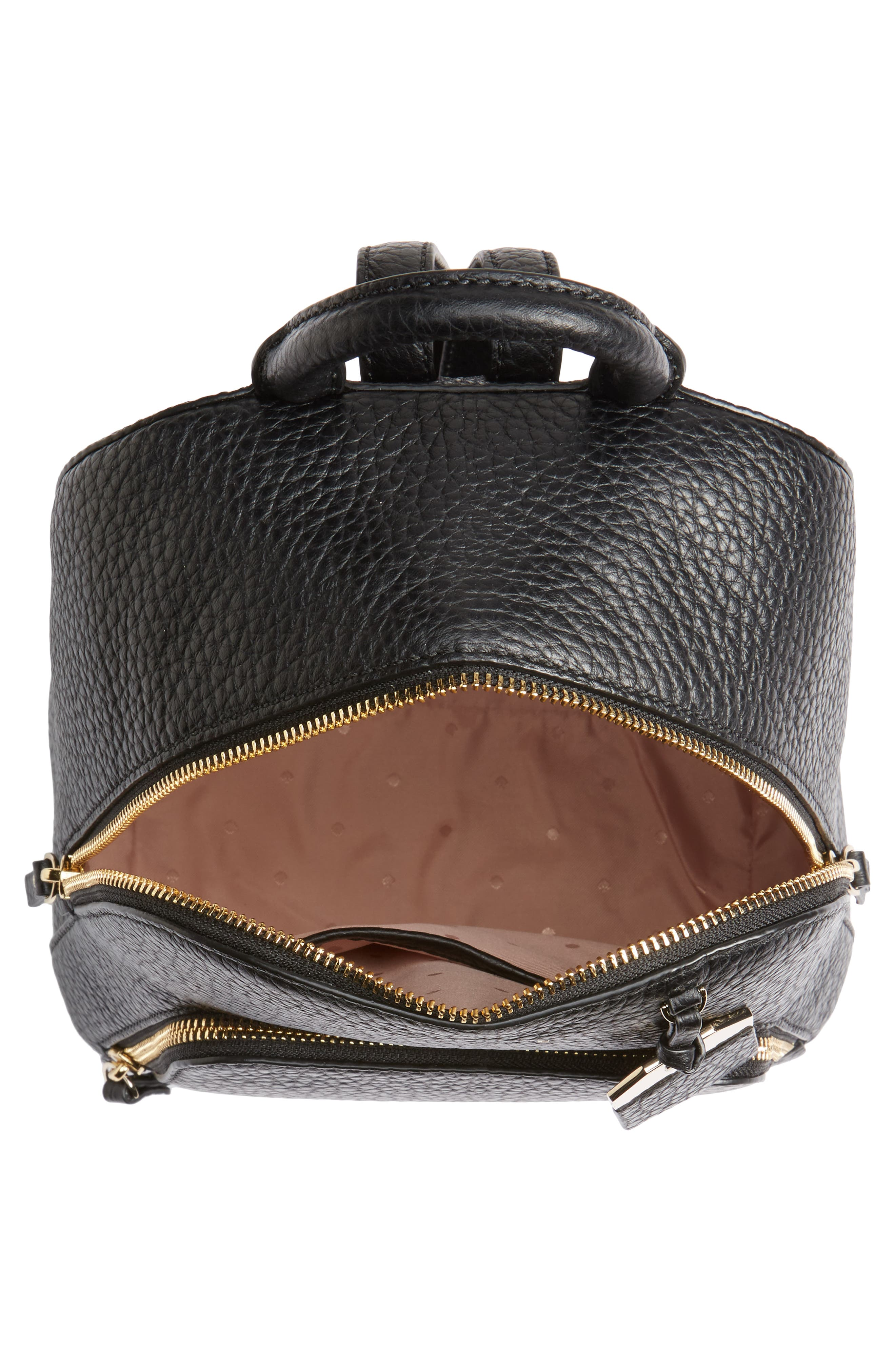 carter street - caden leather backpack,                             Alternate thumbnail 5, color,                             Black