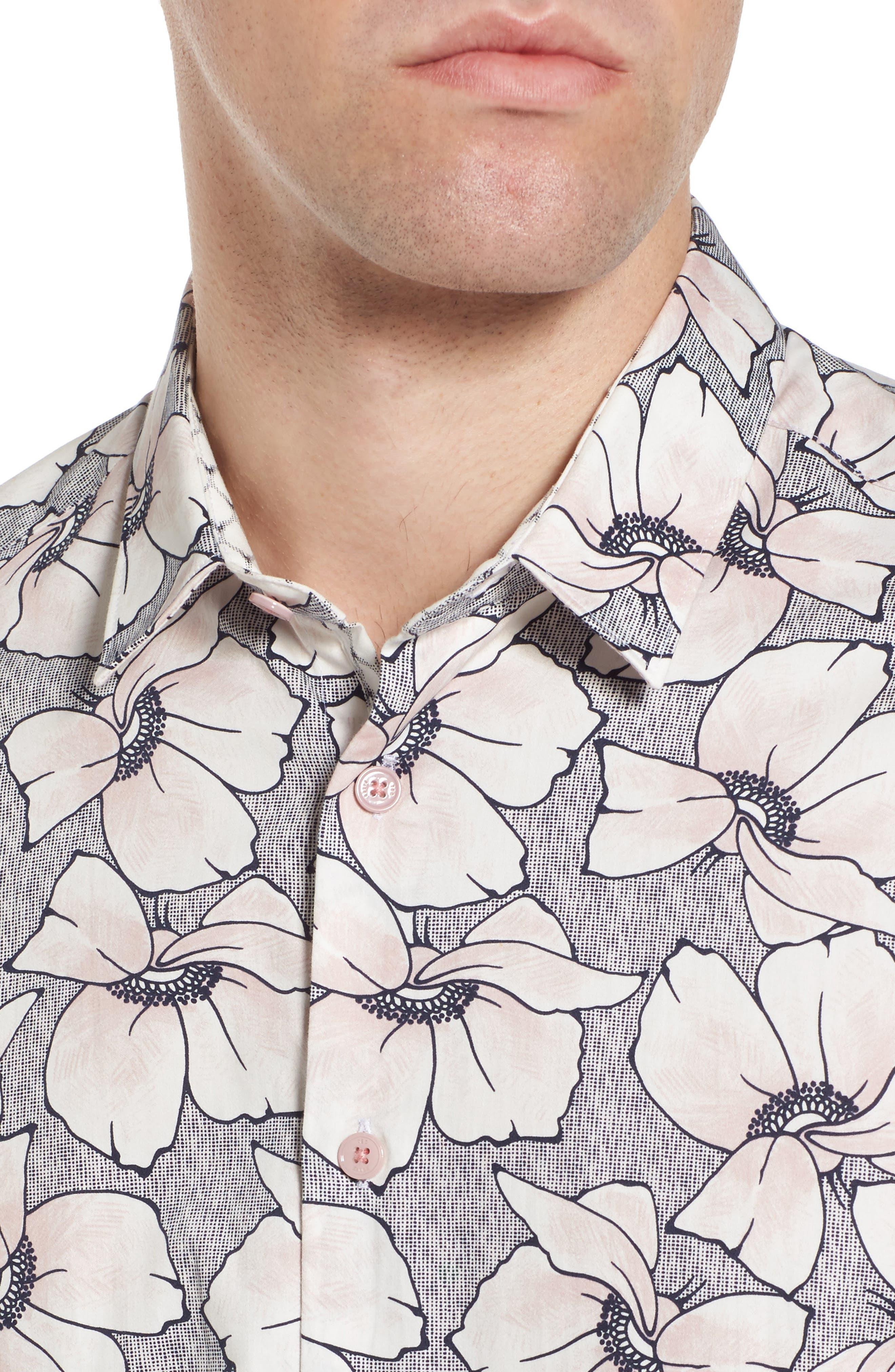 Bigflo Floral Short Sleeve Sport Shirt,                             Alternate thumbnail 2, color,                             Light Pink