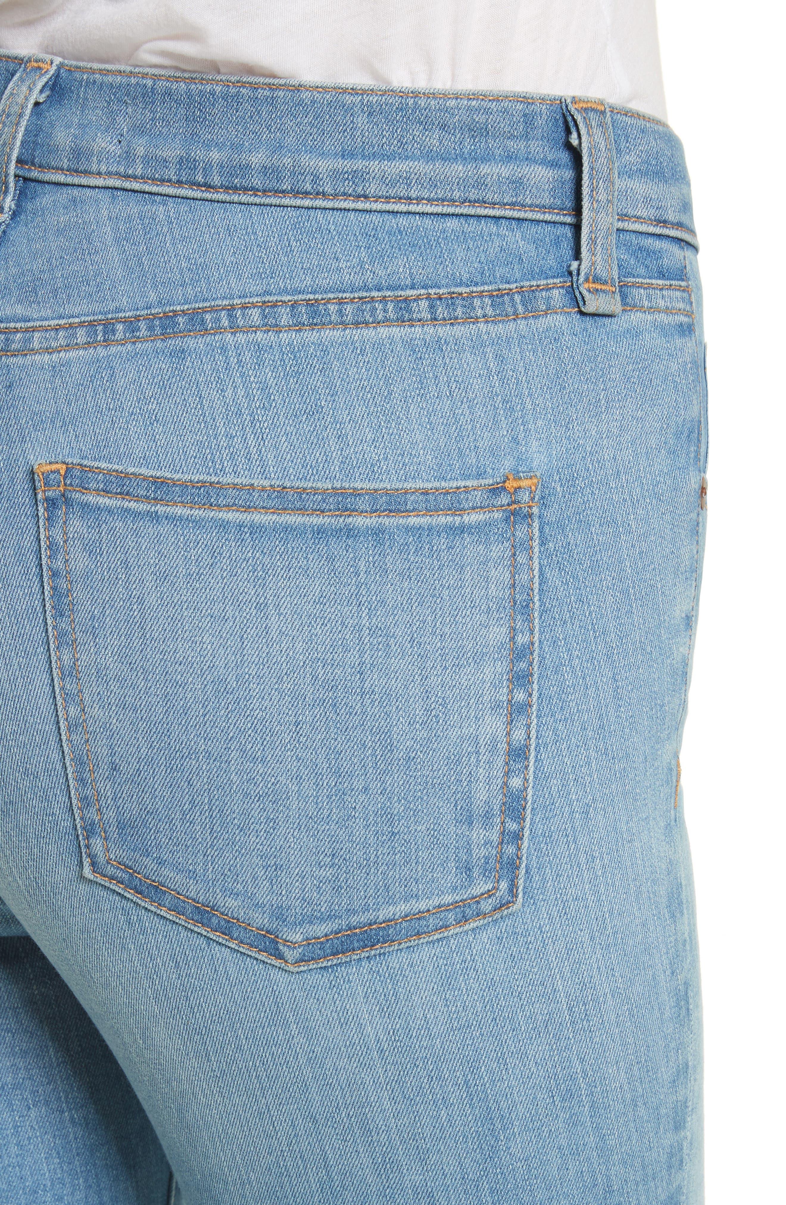 Debbie Frayed Crop Skinny Jeans,                             Alternate thumbnail 4, color,                             Ocean Blue