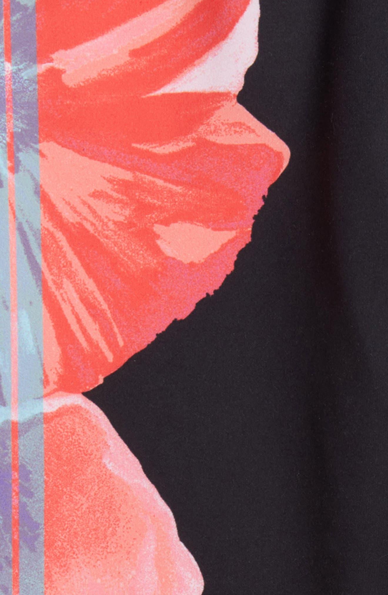 Print Leggings,                             Alternate thumbnail 2, color,                             Black Floral Stripe