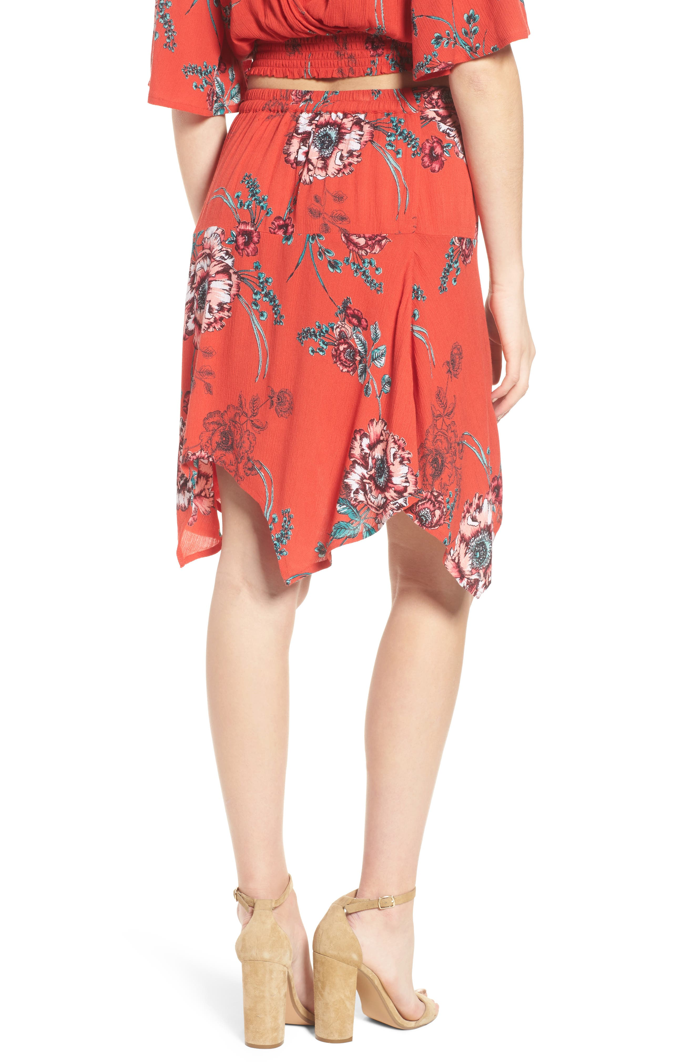 Shadow Floral Faux Wrap Skirt,                             Alternate thumbnail 3, color,                             Red/ Peach