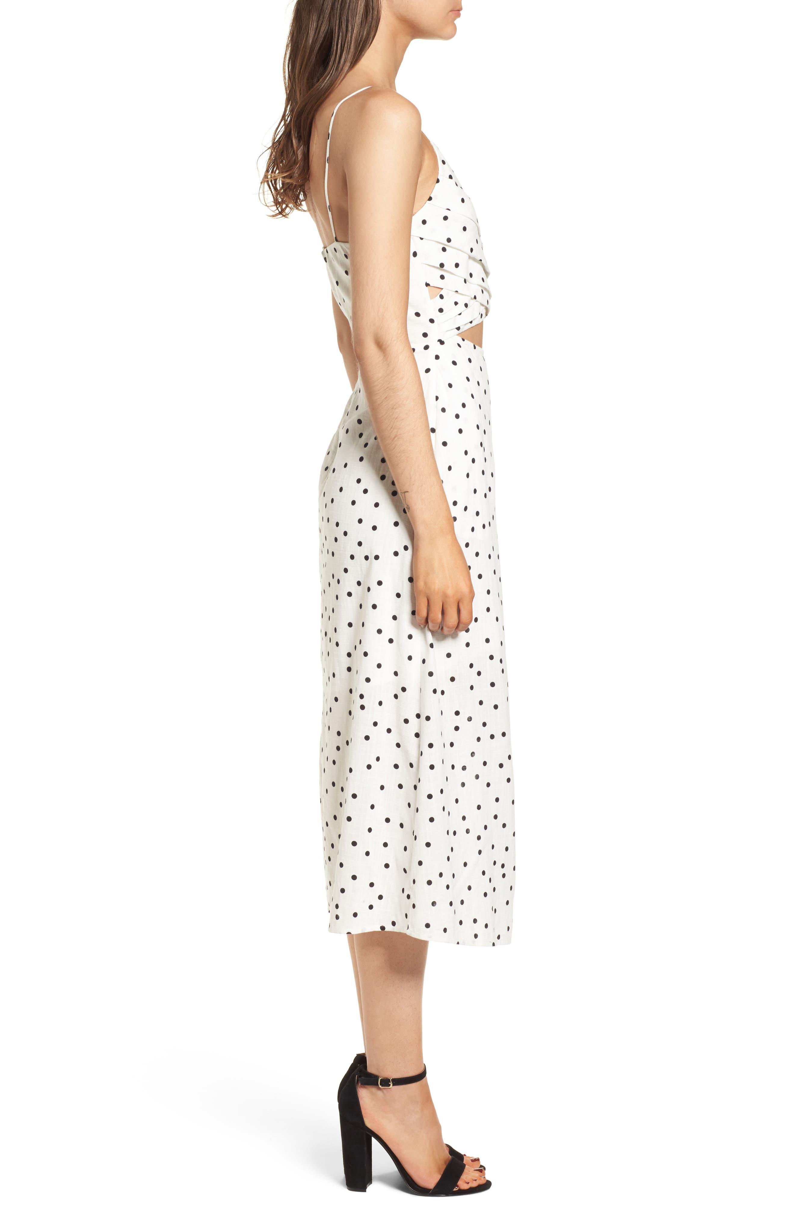 Cutout Midi Dress,                             Alternate thumbnail 3, color,                             Ivory/ Black Dot