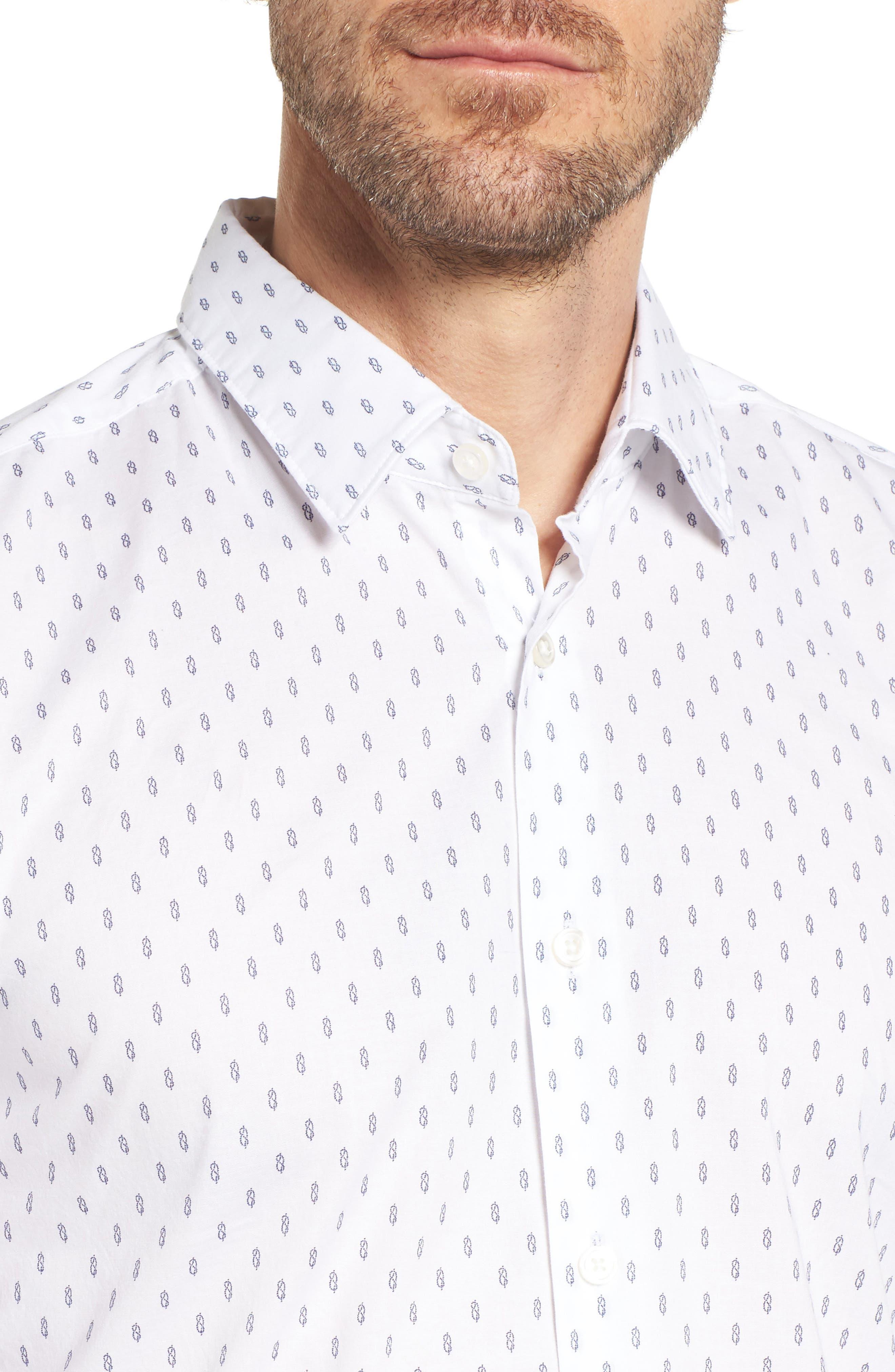 Ronni Slim Fit Print Sport Shirt,                             Alternate thumbnail 2, color,                             White