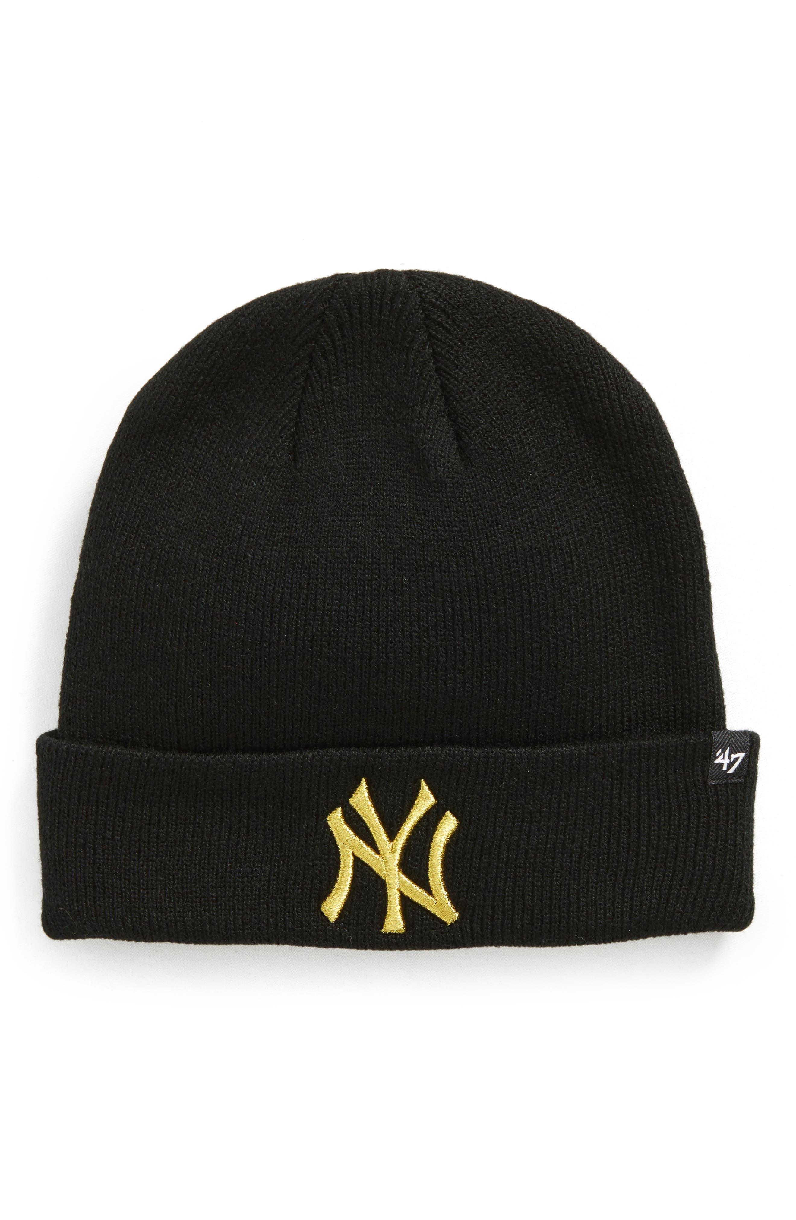 New York Yankees Metallic Beanie,                             Main thumbnail 1, color,                             Black