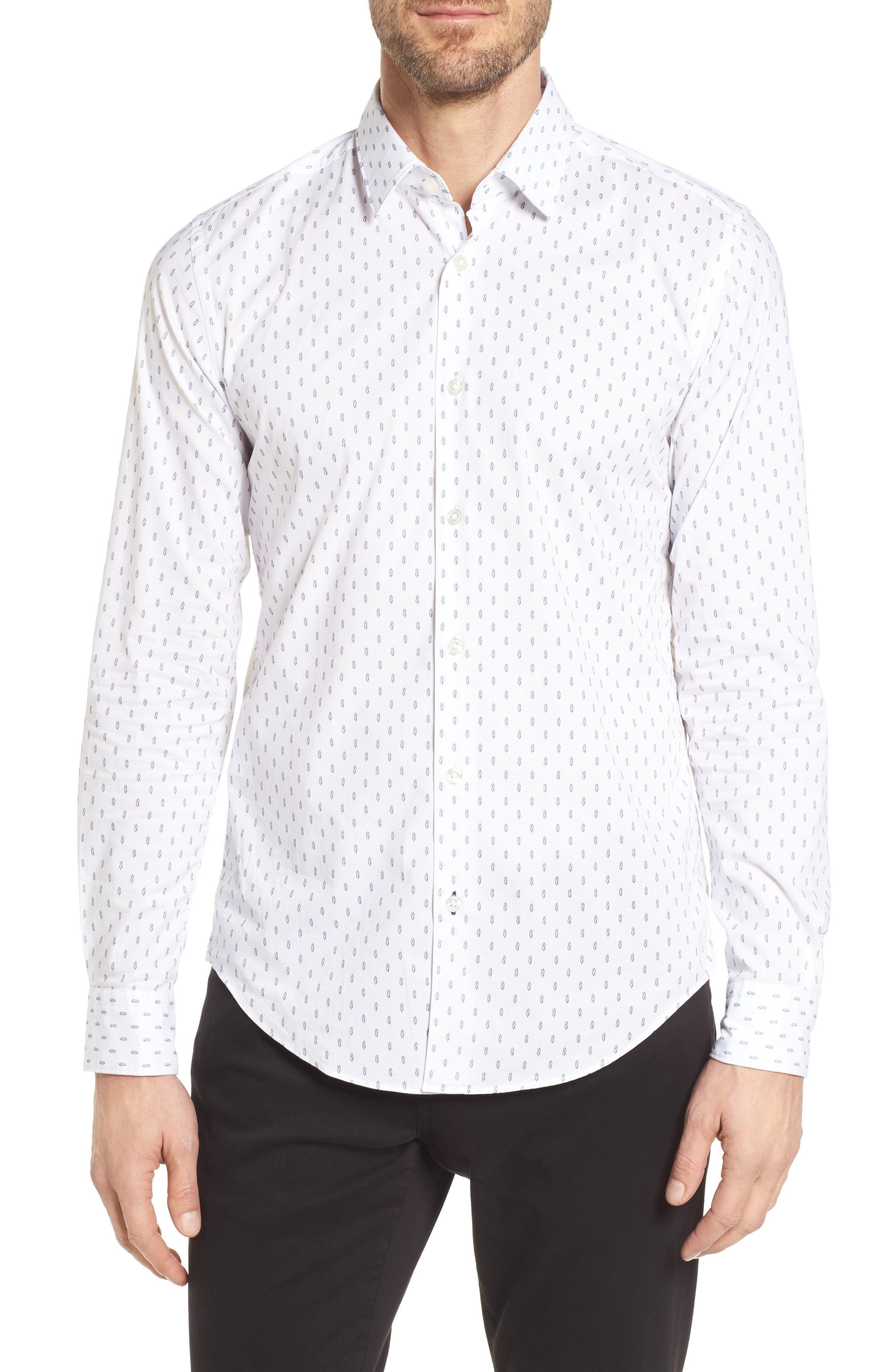 Ronni Slim Fit Print Sport Shirt,                             Main thumbnail 1, color,                             White