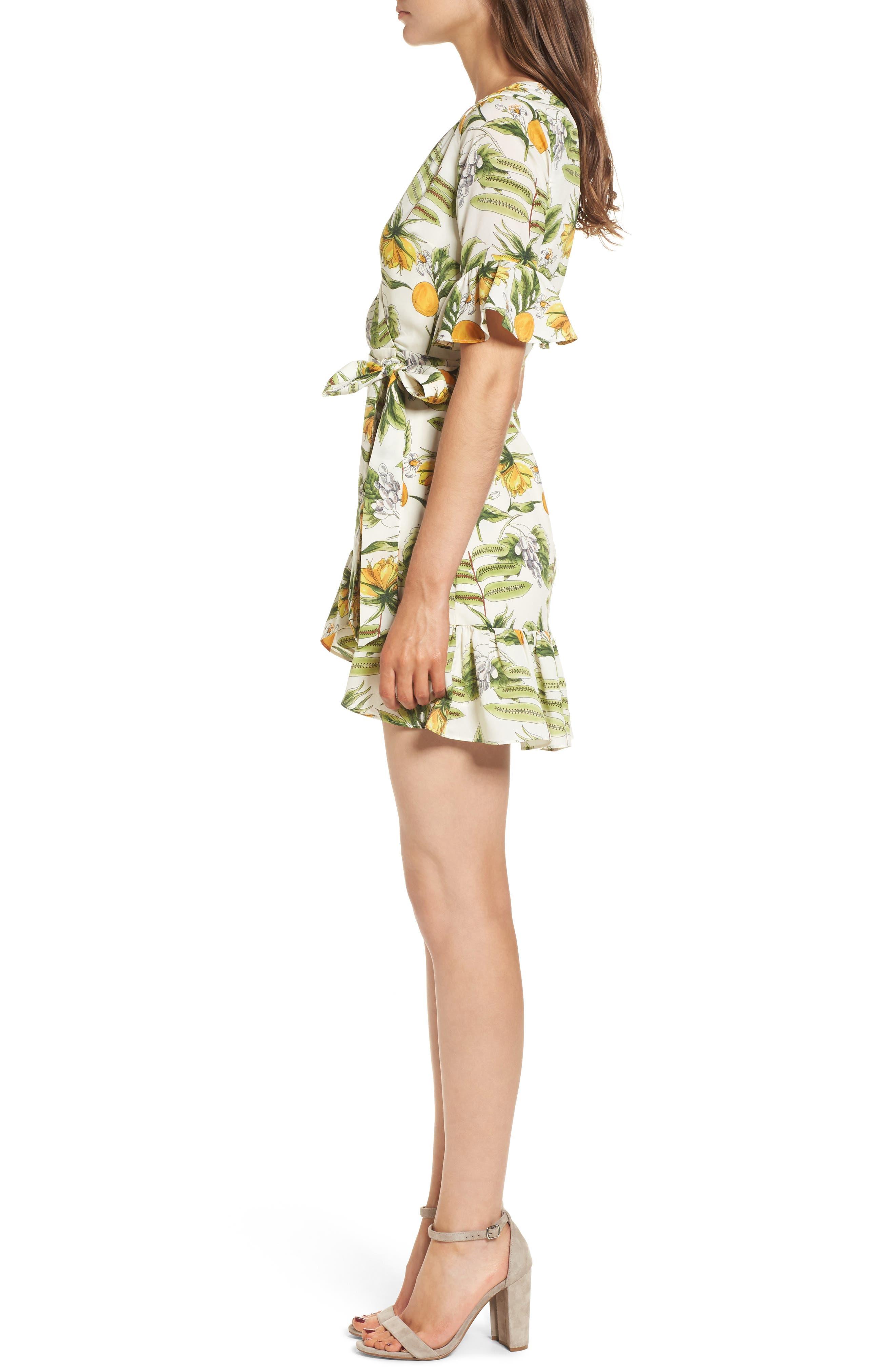 Limonada Citrus Dress,                             Alternate thumbnail 4, color,                             Ivory/ Yellow