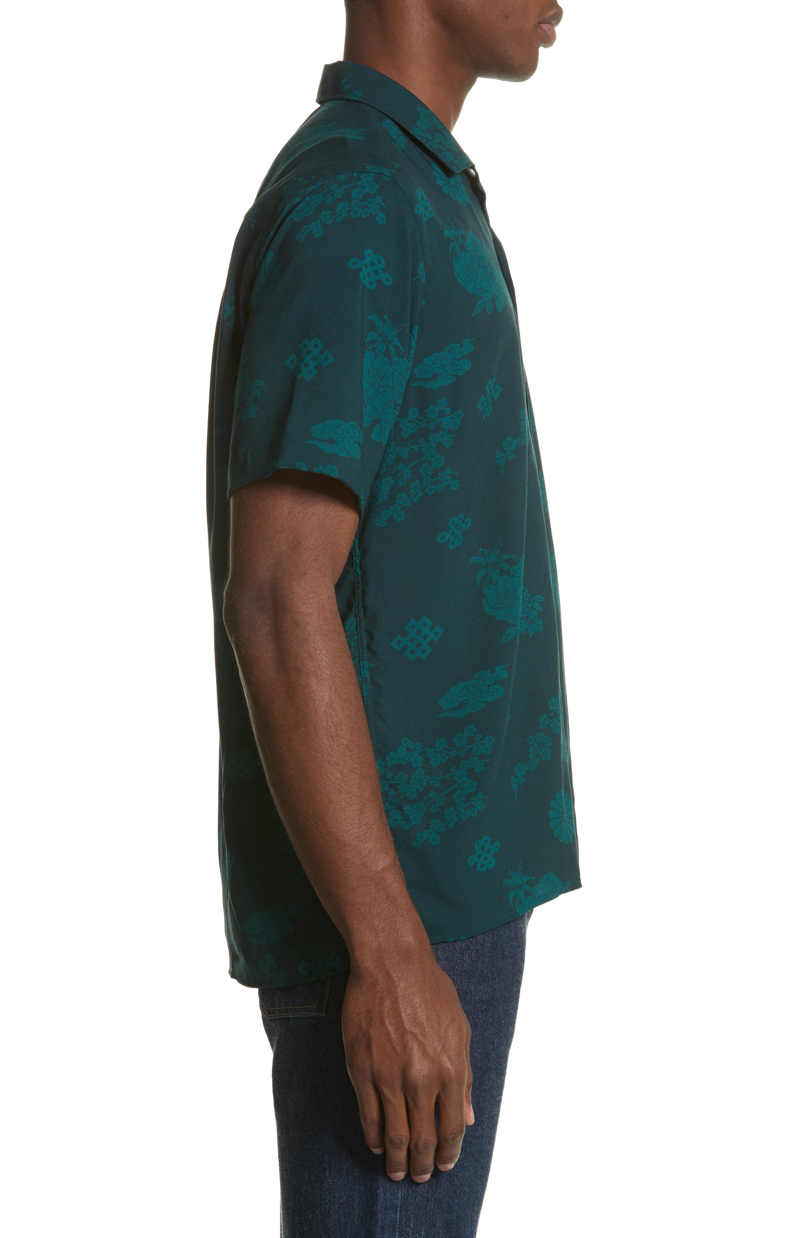 x The North Face Men's Floral Print Camp Shirt,                             Alternate thumbnail 4, color,                             Green Ground