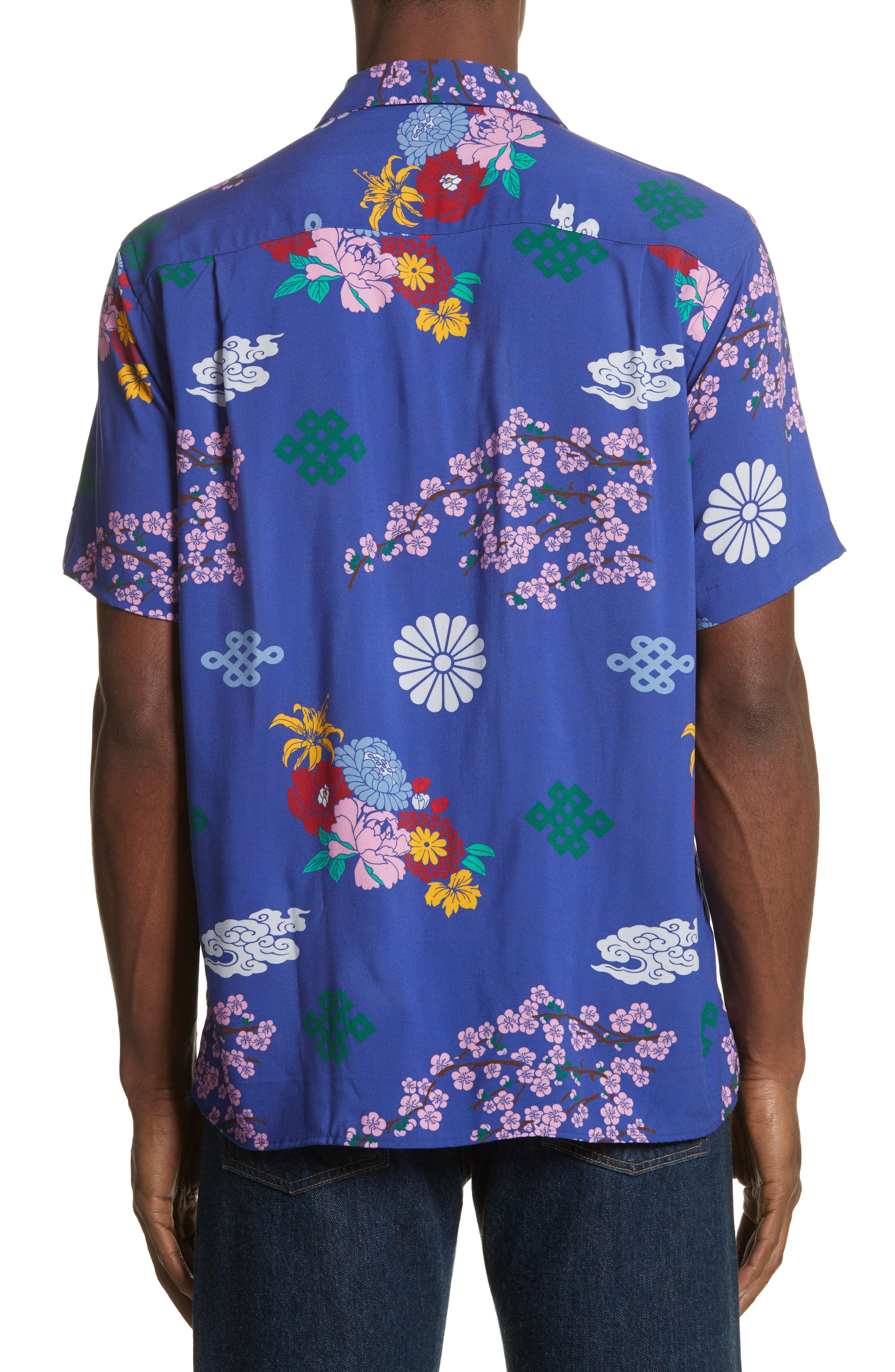 x The North Face Men's Floral Print Camp Shirt,                             Alternate thumbnail 3, color,                             Blue Ground