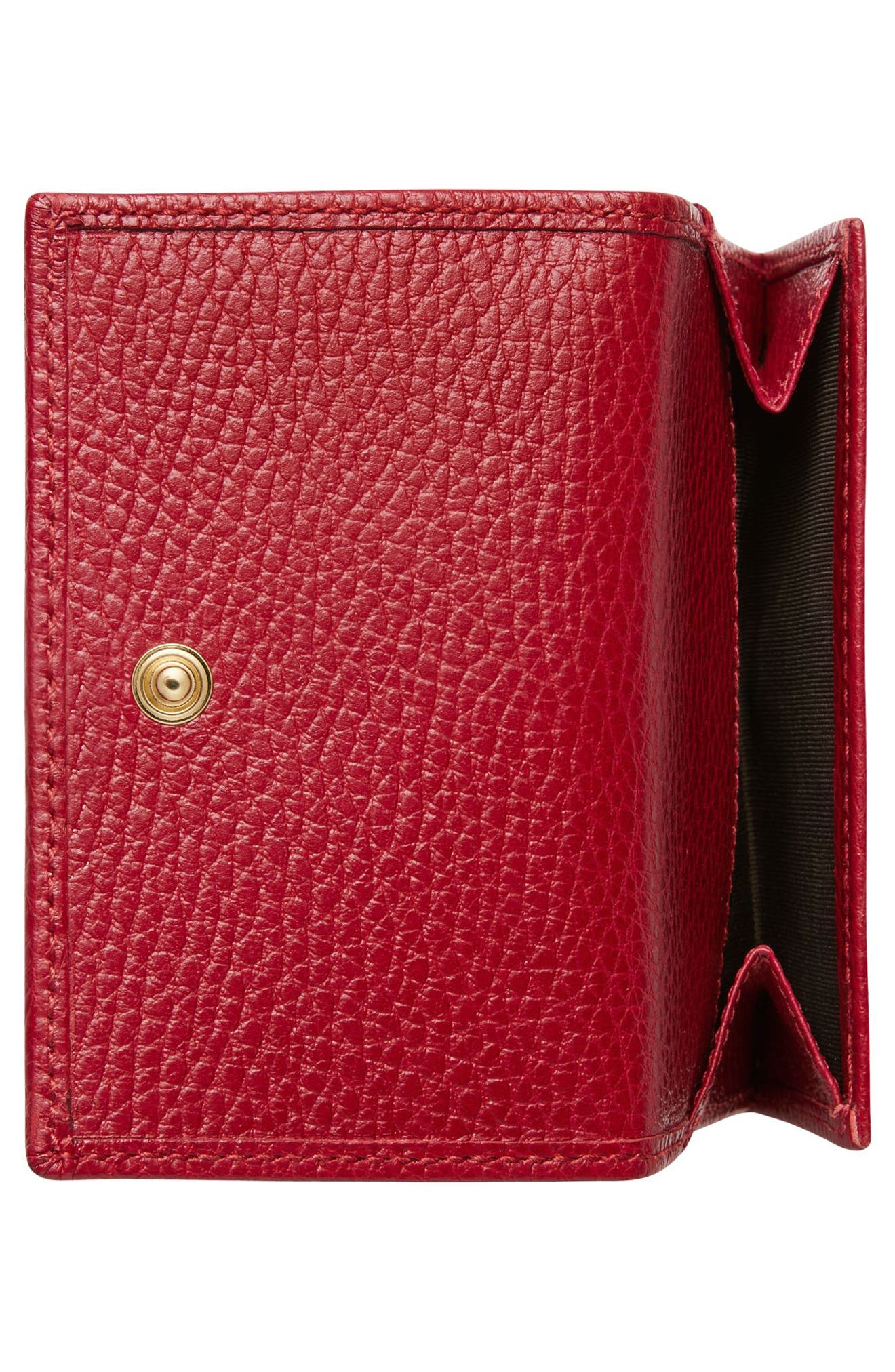 Petite Marmont Leather French Wallet,                             Alternate thumbnail 4, color,                             Hibiscus Red