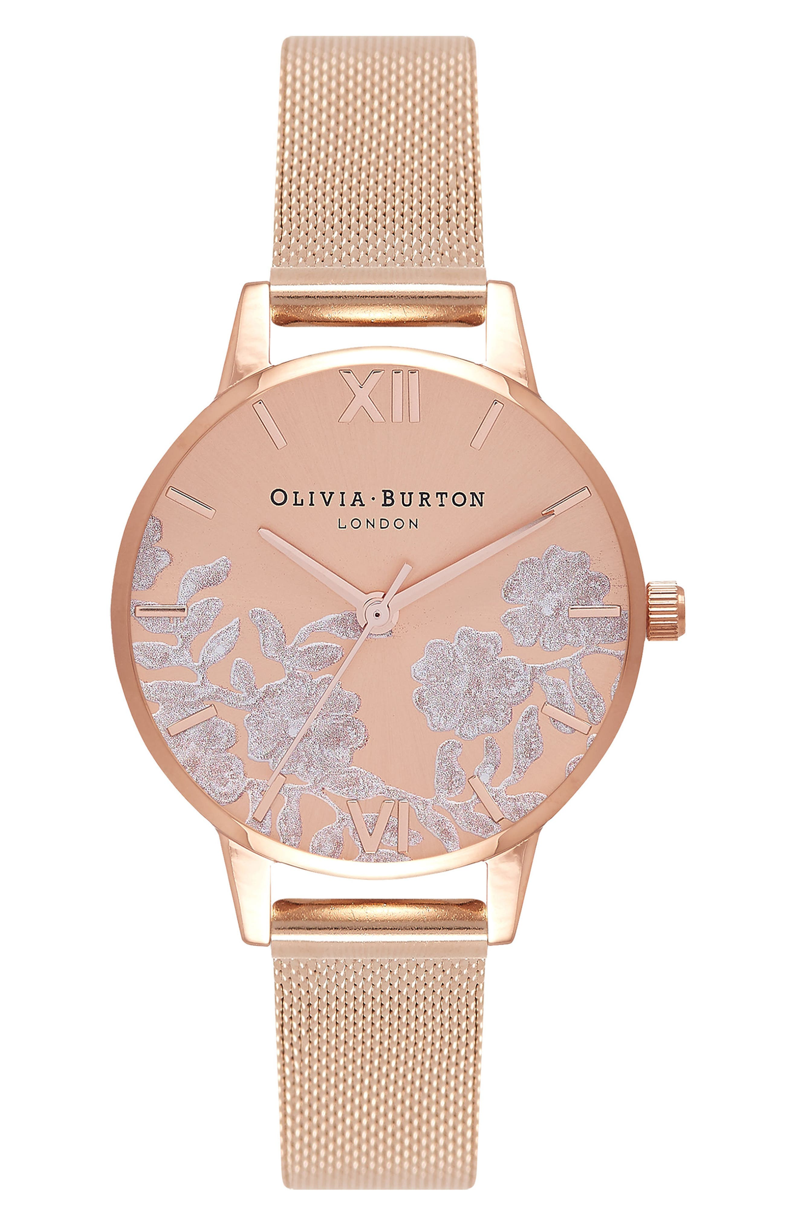 Lace Detail Mesh Strap Watch, 30mm,                         Main,                         color, Rose Gold