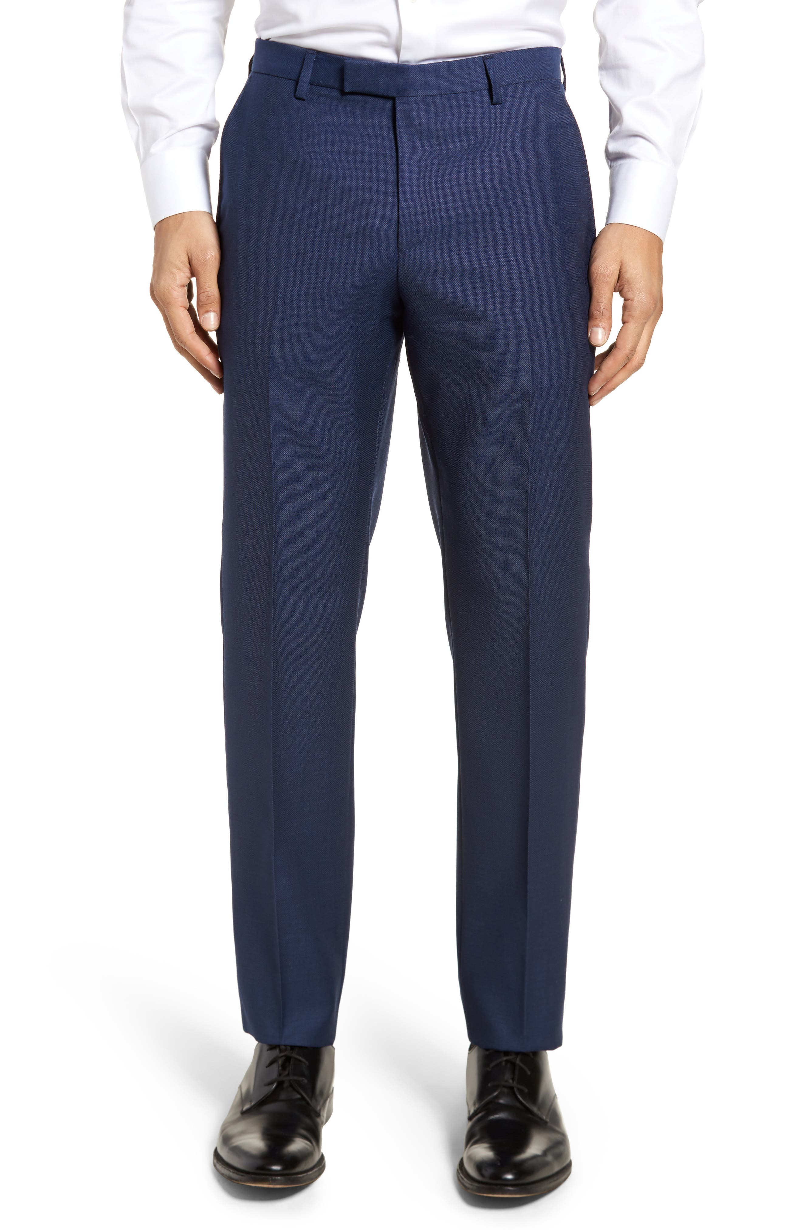 BOSS Leenon Flat Front Regular Fit Solid Wool Trousers