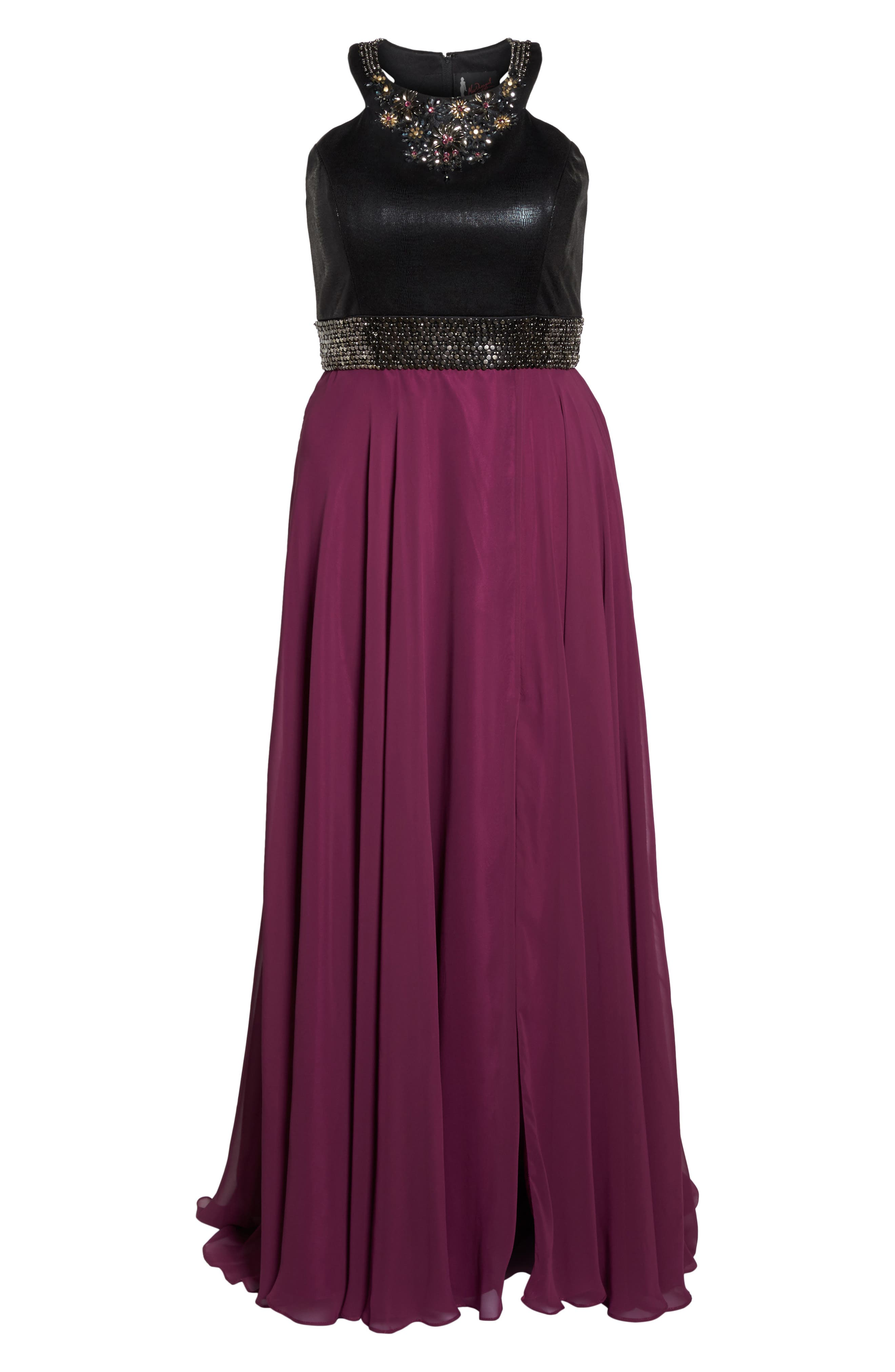 Beaded High Neck Gown,                             Alternate thumbnail 6, color,                             Purple/ Black