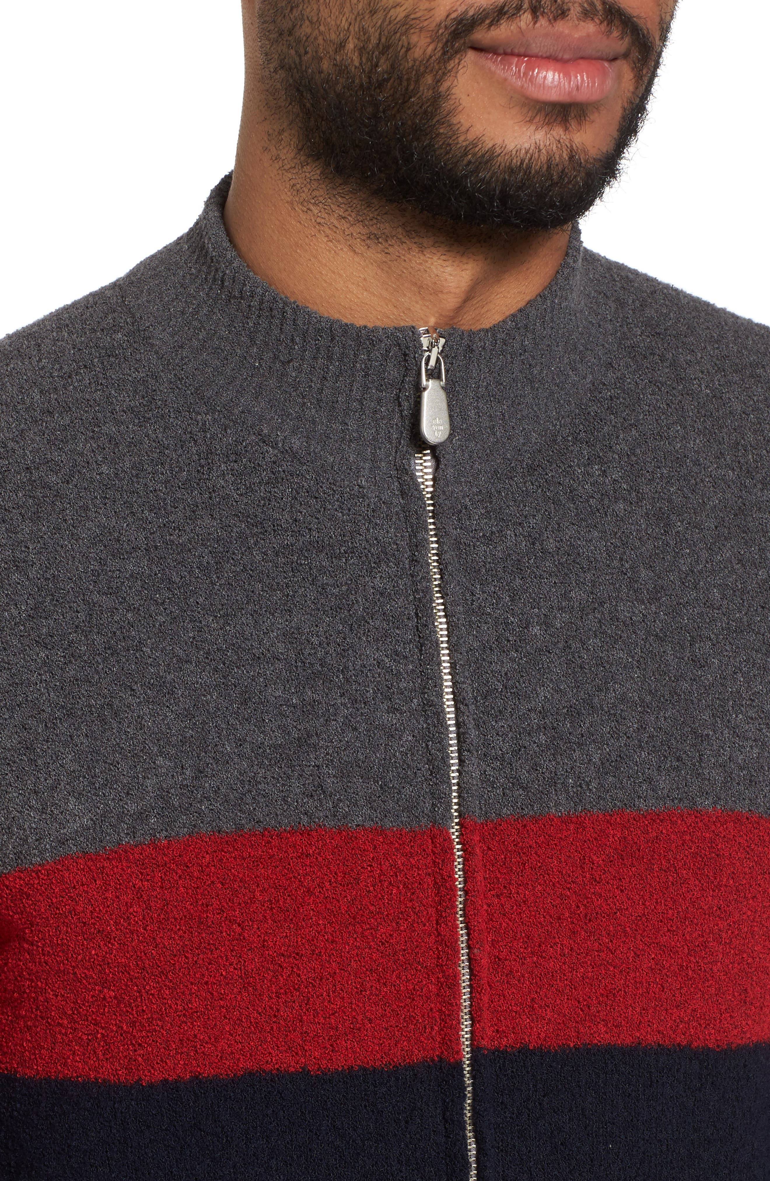 Colorblock Zip Sweater,                             Alternate thumbnail 4, color,                             Navy/ Red