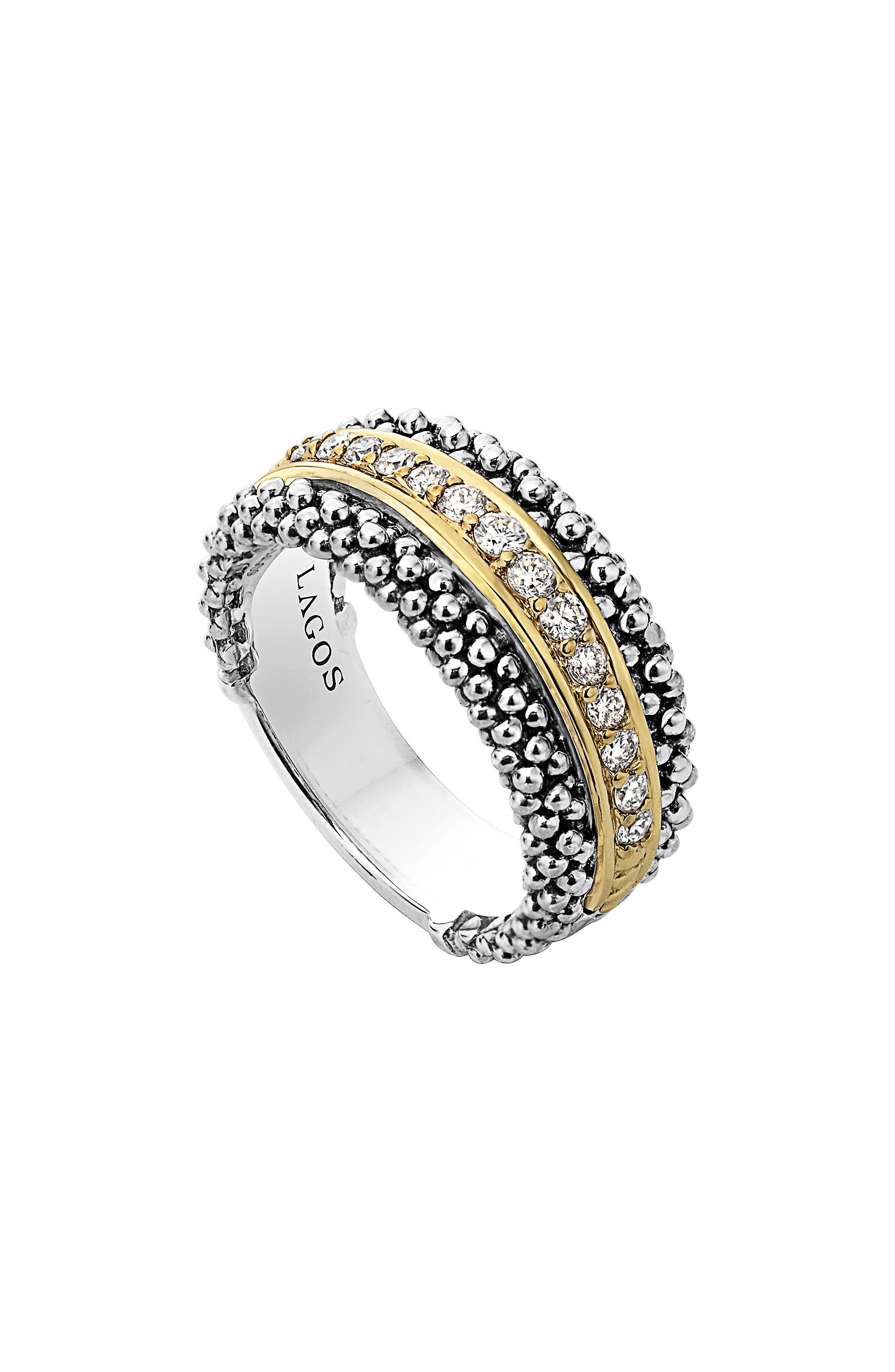 Diamonds & Caviar Ring,                         Main,                         color, Silver/ Gold