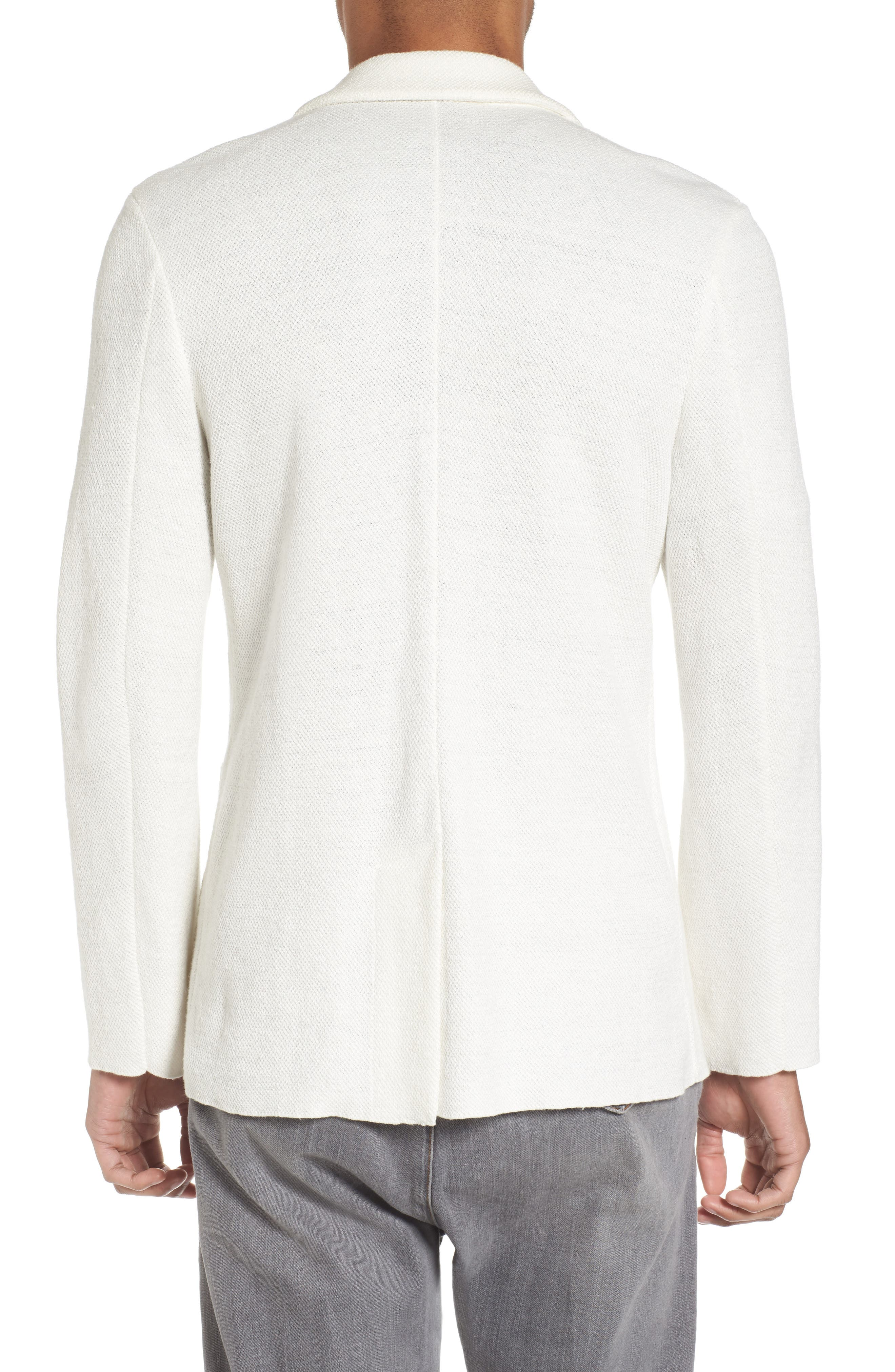 Slim Fit Linen Blend Sweater Jacket,                             Alternate thumbnail 2, color,                             Ivory