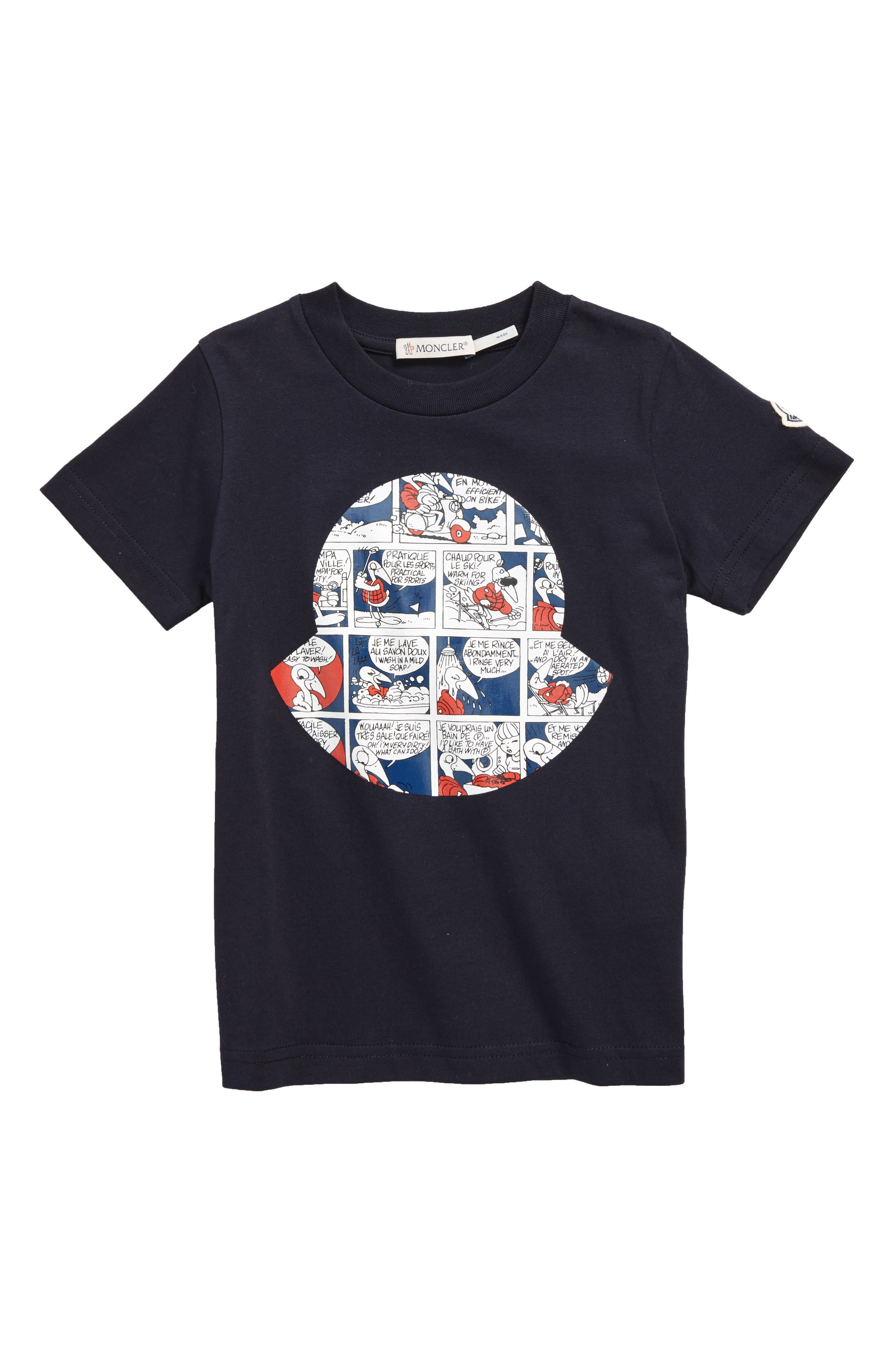 Comic Print Logo Tee,                         Main,                         color, Navy