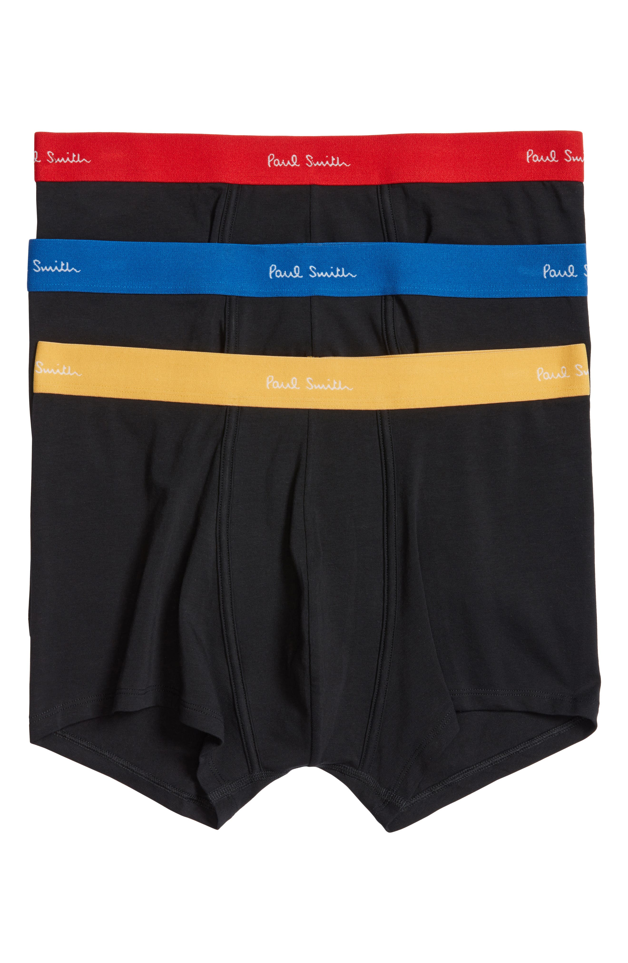 3-Pack Assorted Square Cut Trunks,                         Main,                         color, Black W/ Blue/ Orange/ Yellow