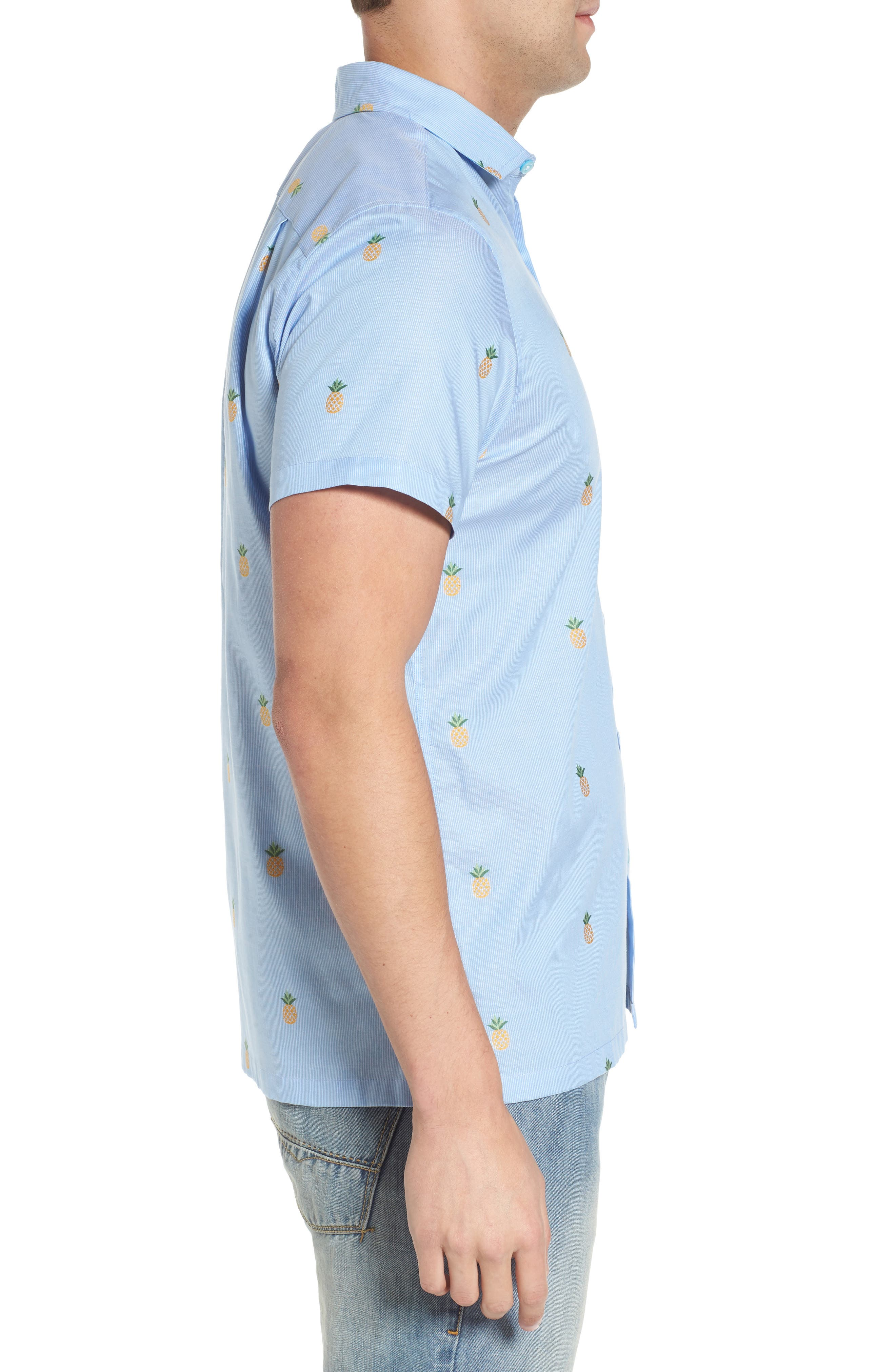 Dole 'N' Row Trim Fit Embroidered Sport Shirt,                             Alternate thumbnail 3, color,                             Blue