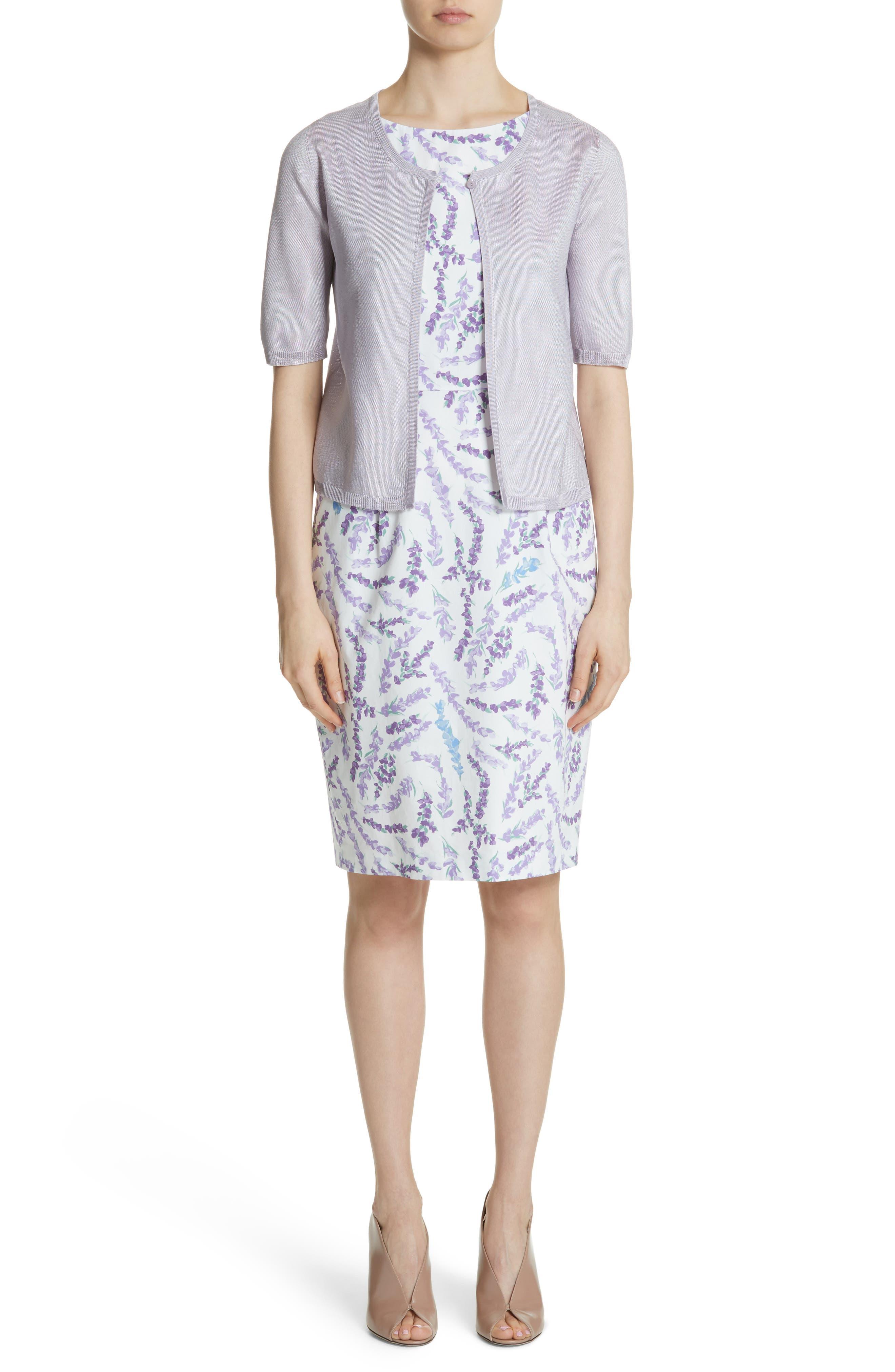 Melfi Print Cotton Sheath Dress,                             Alternate thumbnail 8, color,                             Lavender