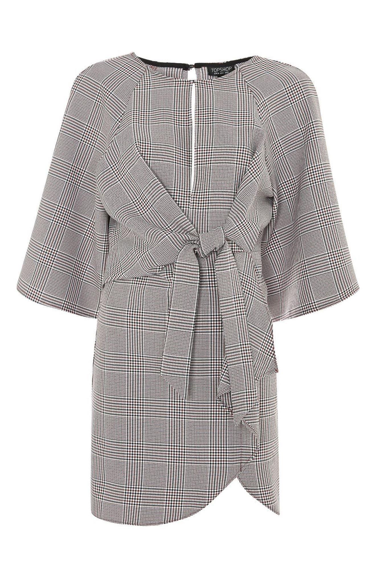 Plaid Knot Front Minidress,                             Alternate thumbnail 4, color,                             Grey Multi