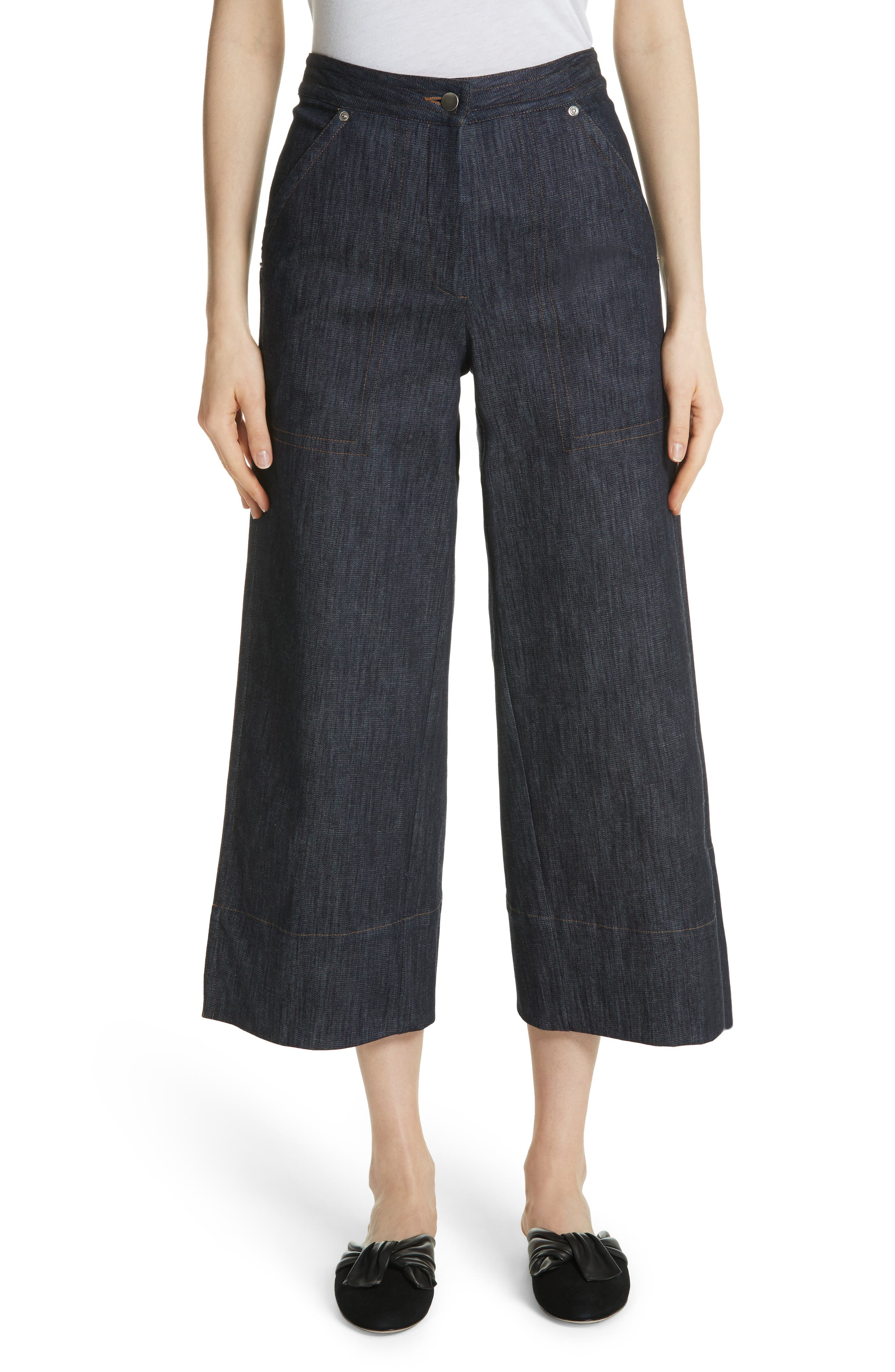 Main Image - Yigal Azrouël Panel Front Wide Leg Crop Jeans