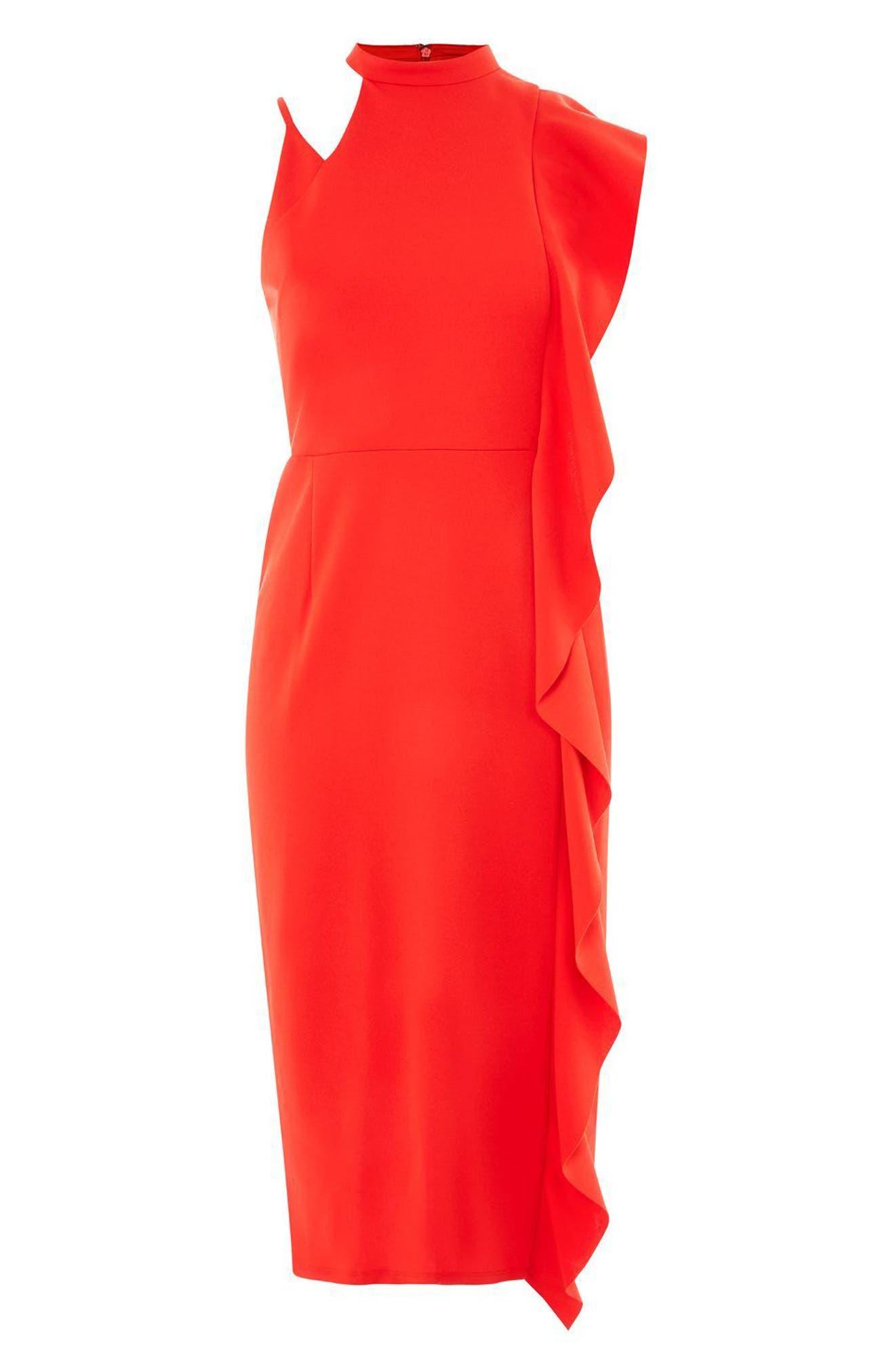 Asymmetrical Ruffle Midi Dress,                             Alternate thumbnail 3, color,                             Red