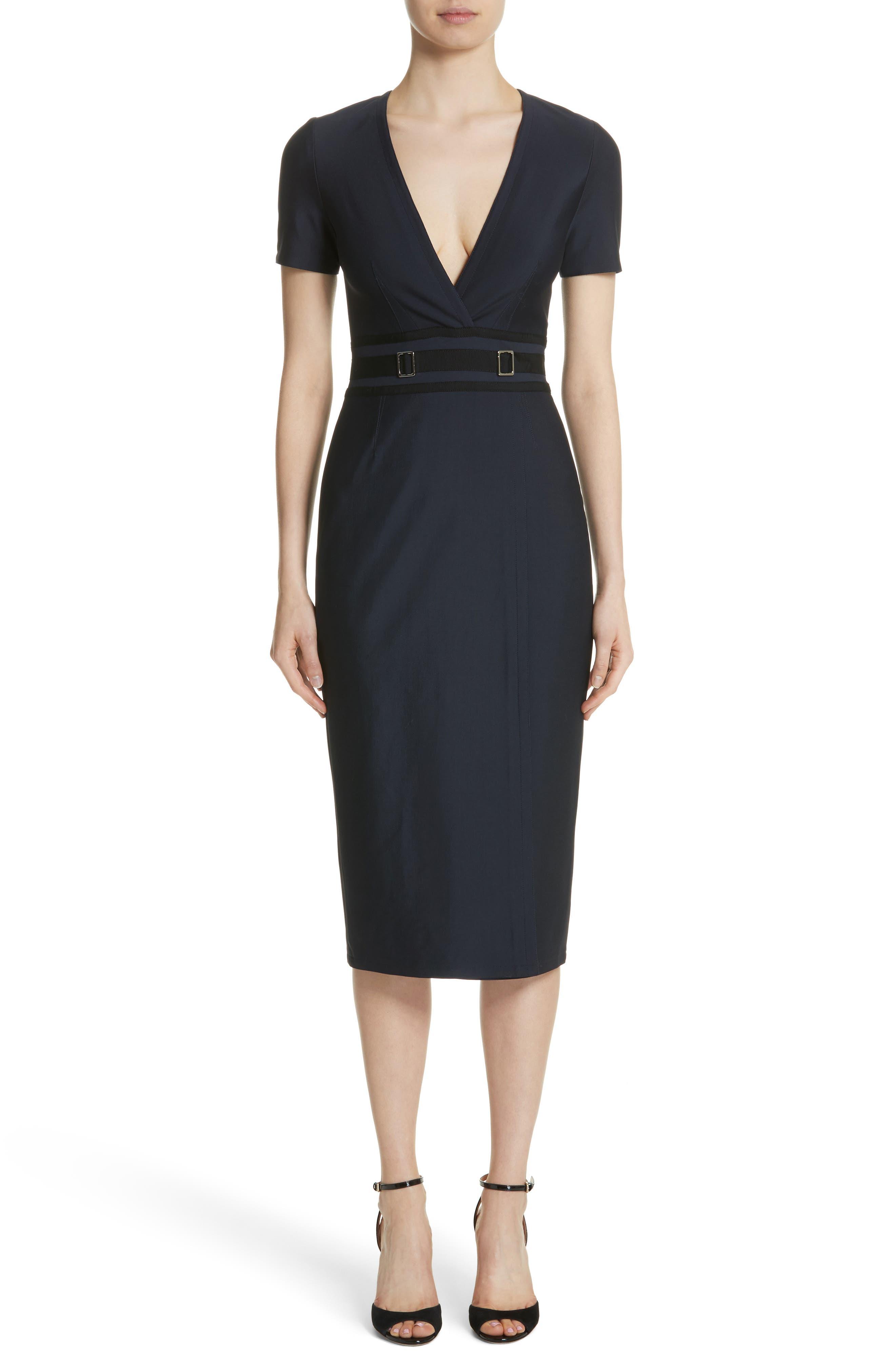 Belt Waist Sheath Dress,                         Main,                         color, Navy Blue