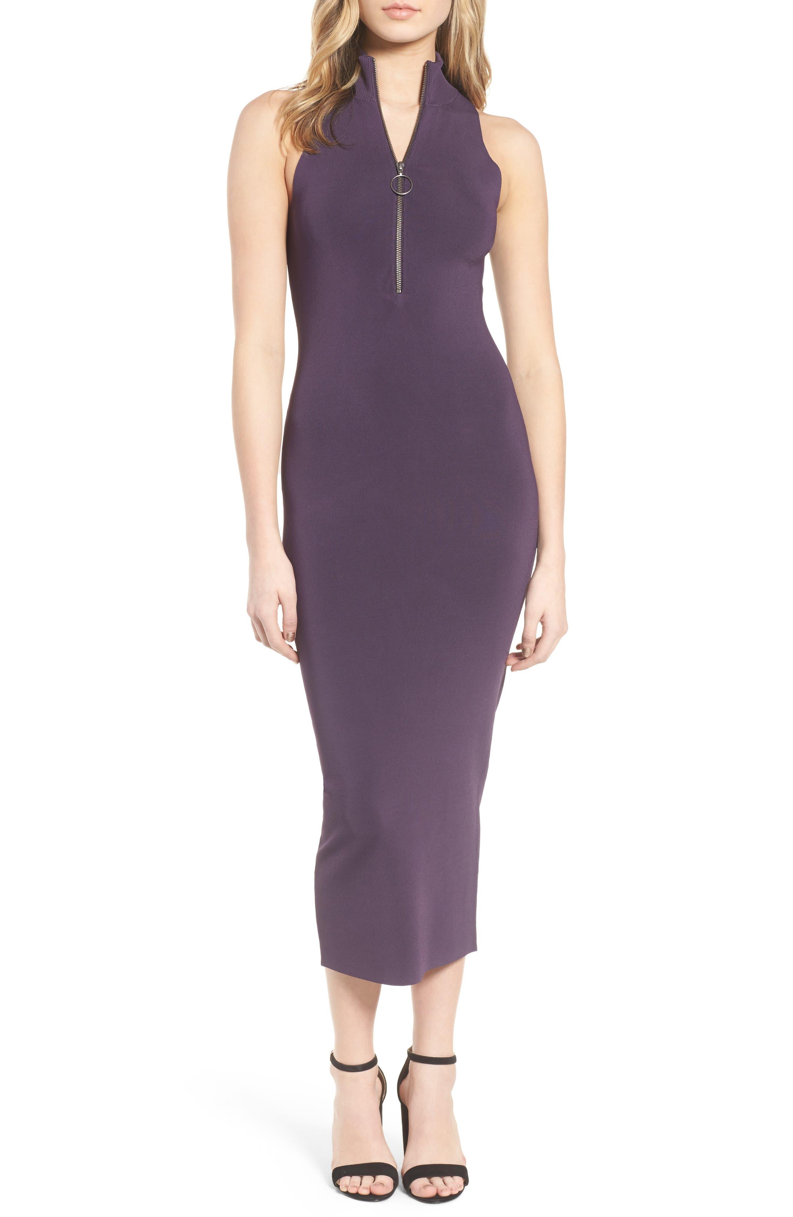 Sweater Knit Midi Dress,                             Main thumbnail 1, color,                             Purple Night