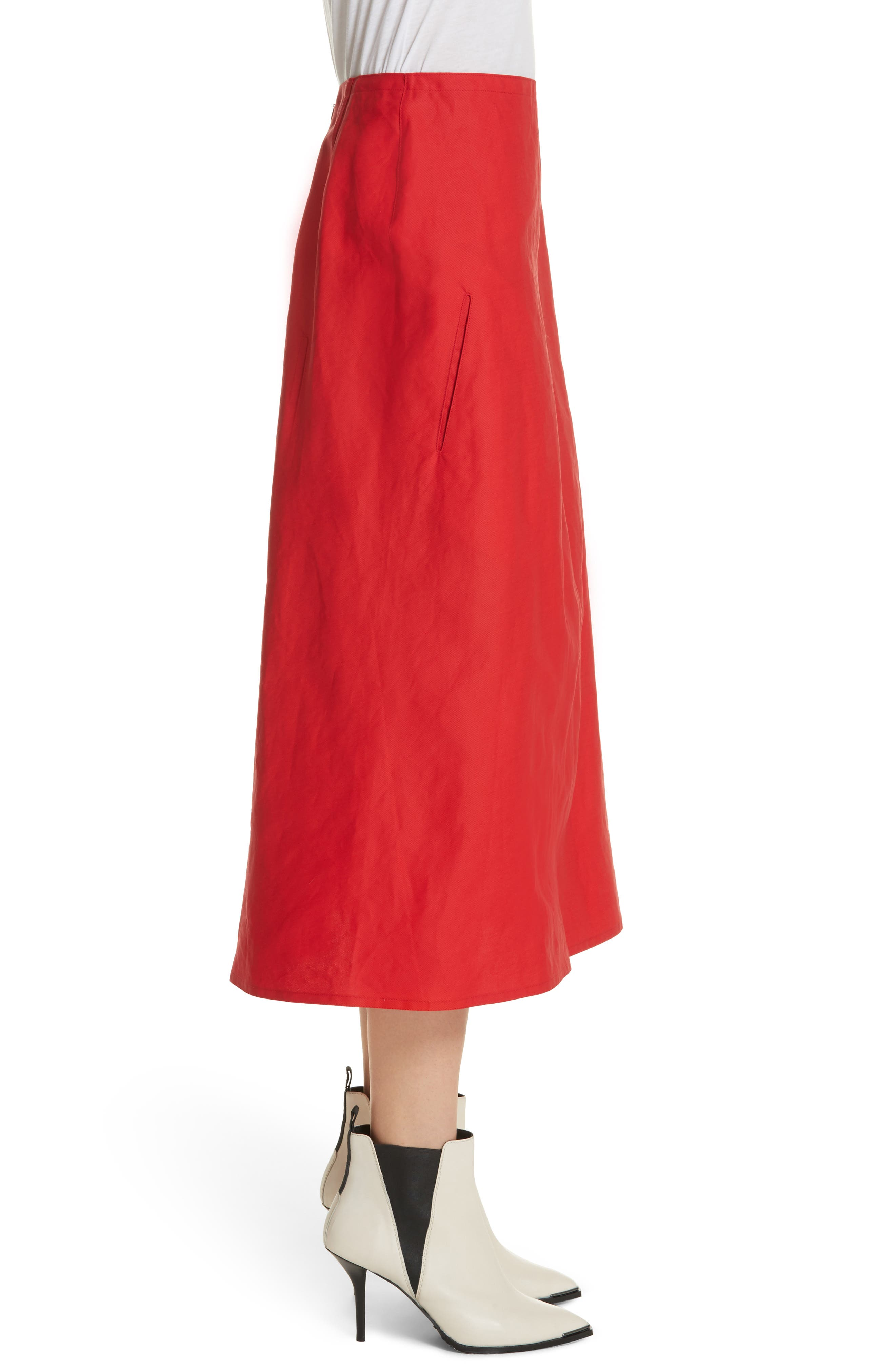 Faux Wrap Skirt,                             Alternate thumbnail 3, color,                             Red Pepper