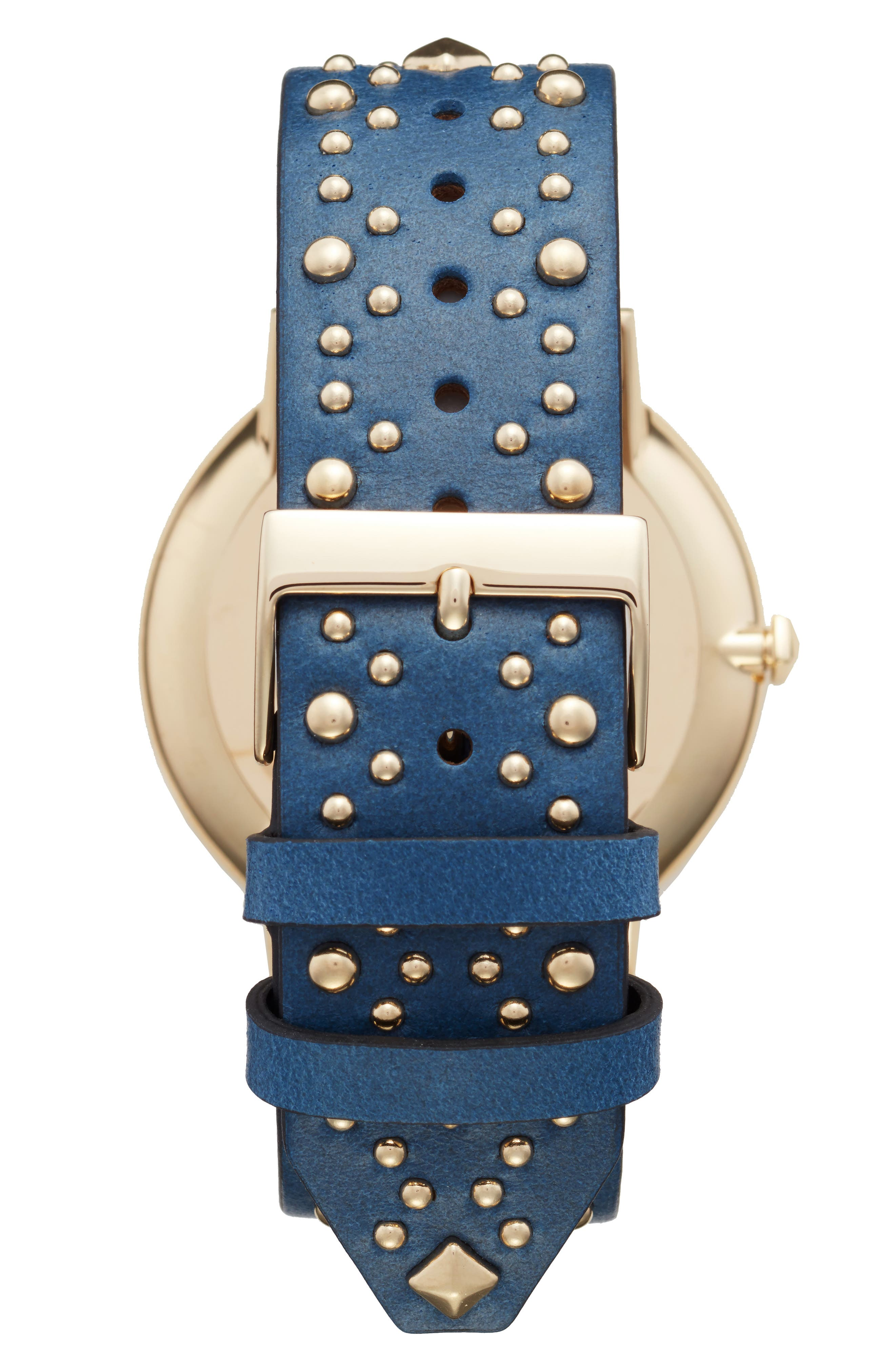 Major Embellished Leather Strap Watch, 40mm,                             Alternate thumbnail 2, color,                             Blue/ White/ Gold