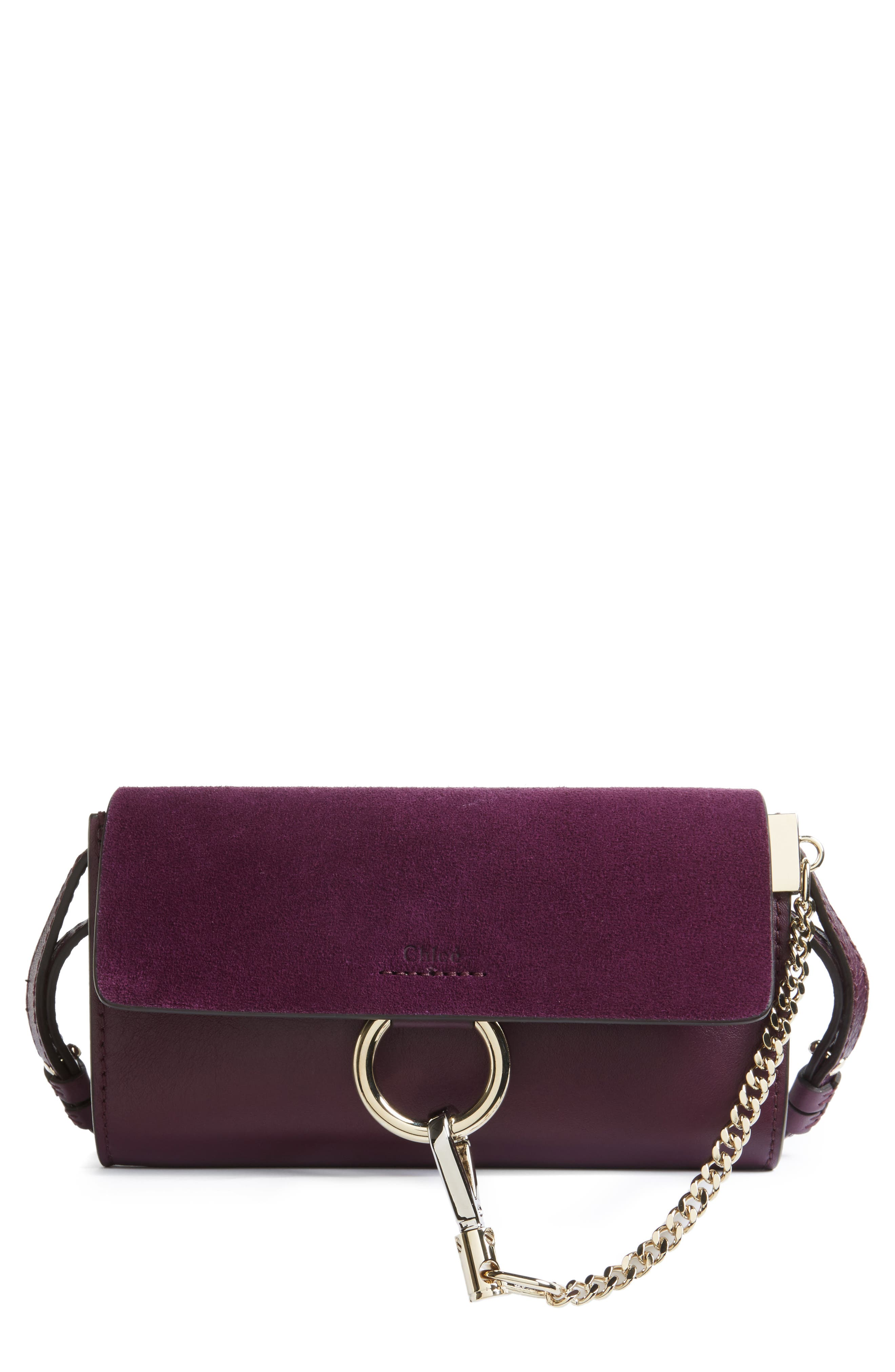 Faye Leather & Suede Wallet on a Strap,                         Main,                         color, Intense Violine