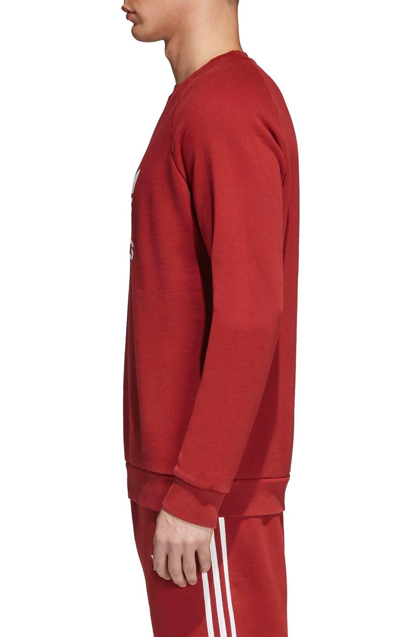 adidas Trefoil Crewneck Sweatshirt,                             Alternate thumbnail 4, color,                             Rusred