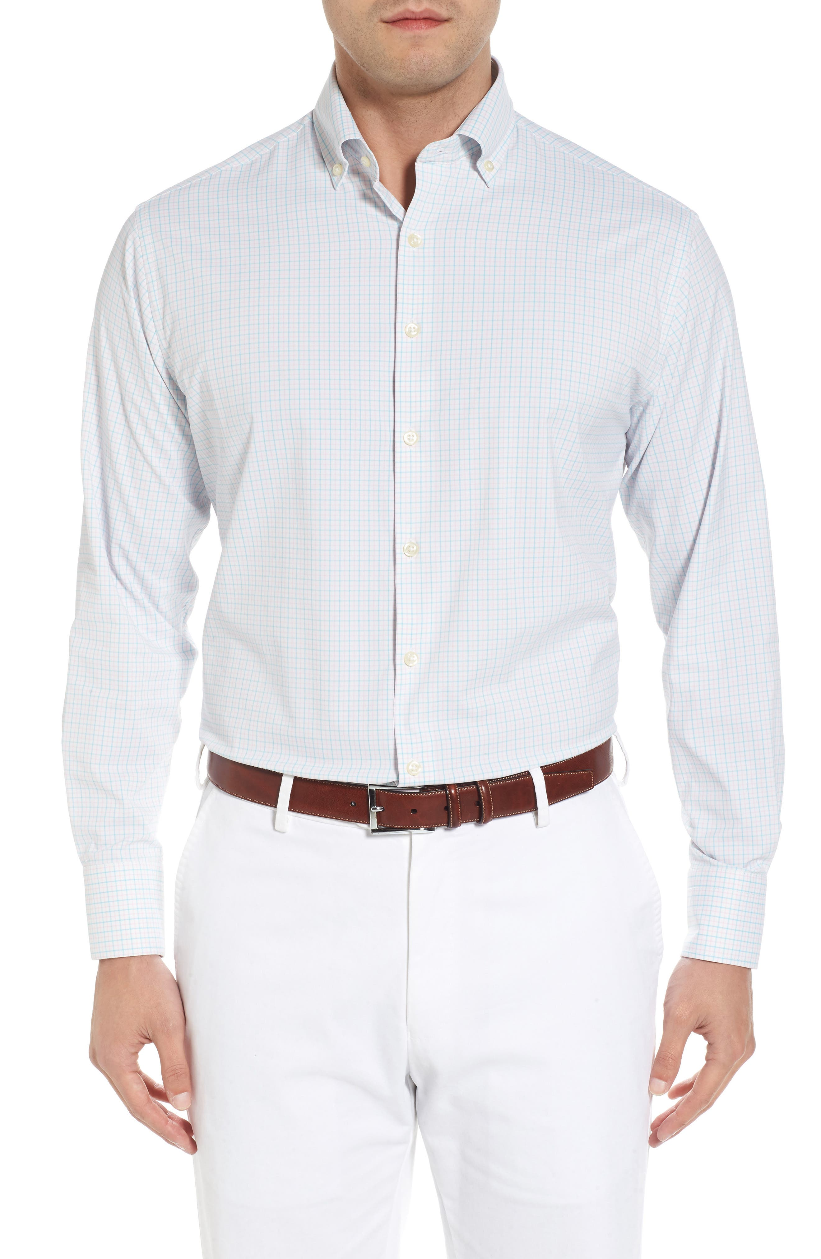Waldorf Regular Fit Tattersall Performance Sport Shirt,                         Main,                         color, White/ Piglet Pink