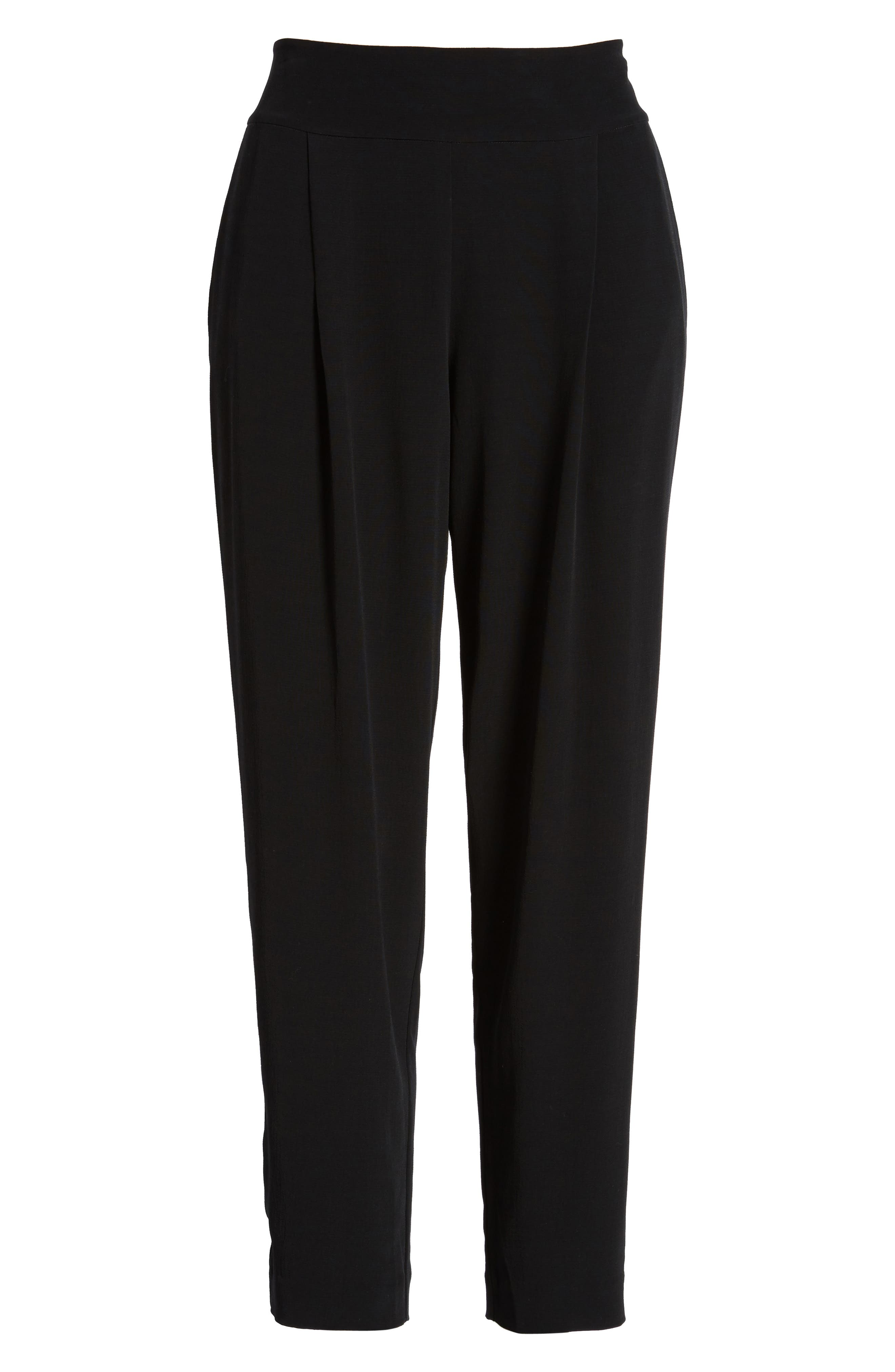 Slouchy Tencel<sup>®</sup> Lyocell Blend Crop Pants,                             Alternate thumbnail 7, color,                             Black