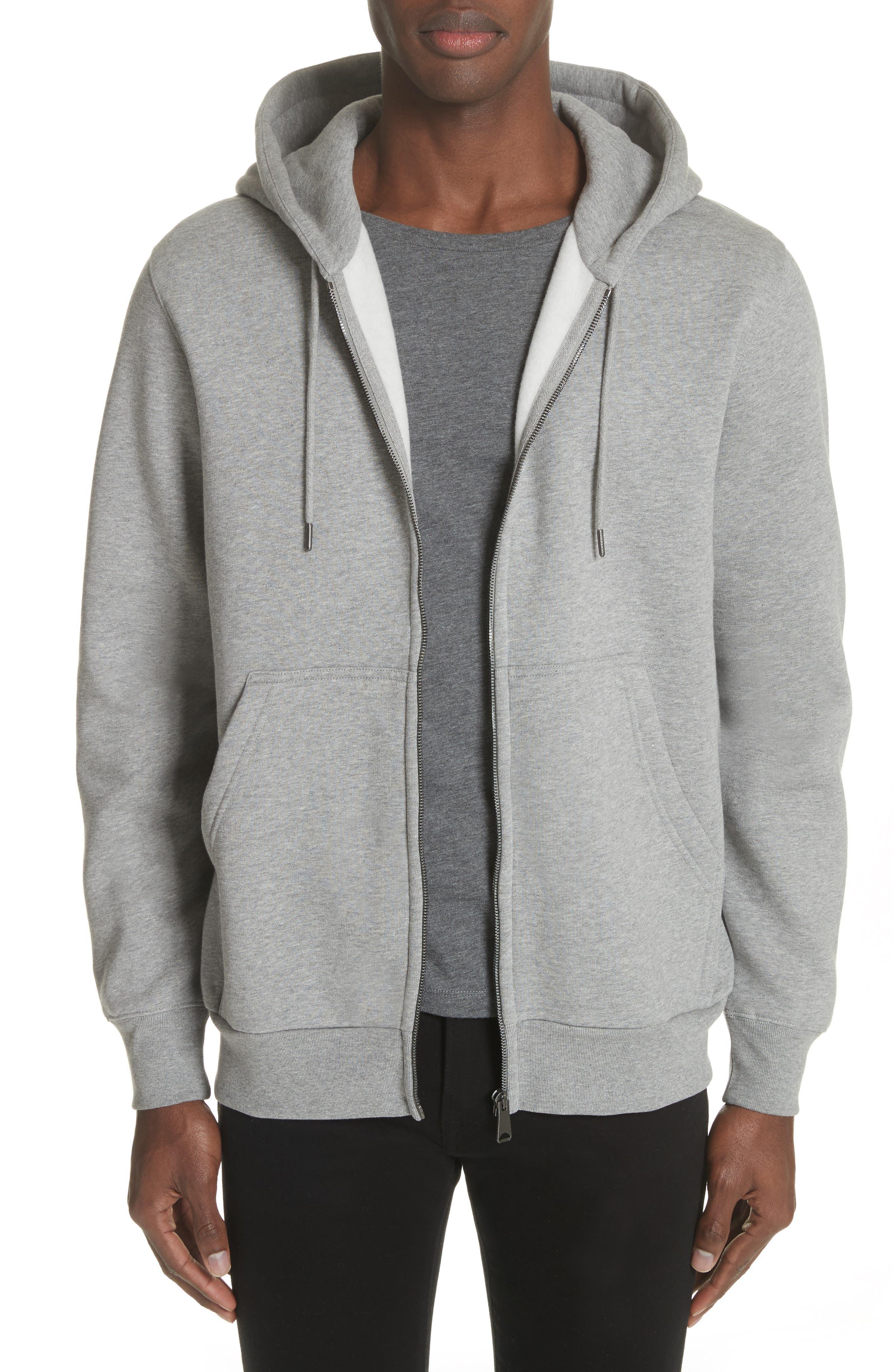 Kenton Regular Fit Full Zip Fleece Hoodie,                         Main,                         color, Pale Grey Melange