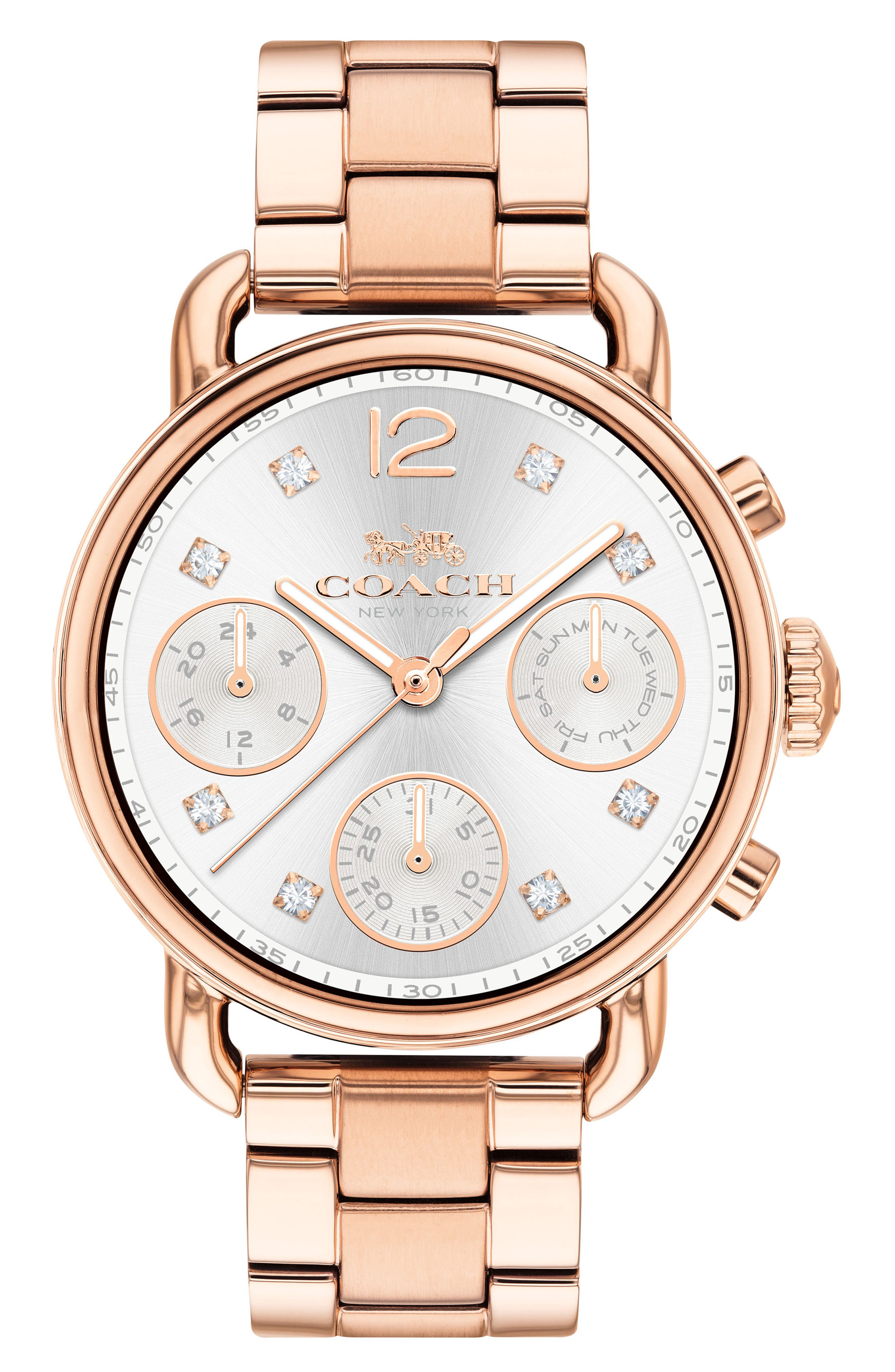 Delancey Chronograph Crystal Accent Bracelet Watch, 36mm,                             Main thumbnail 1, color,                             Rose Gold