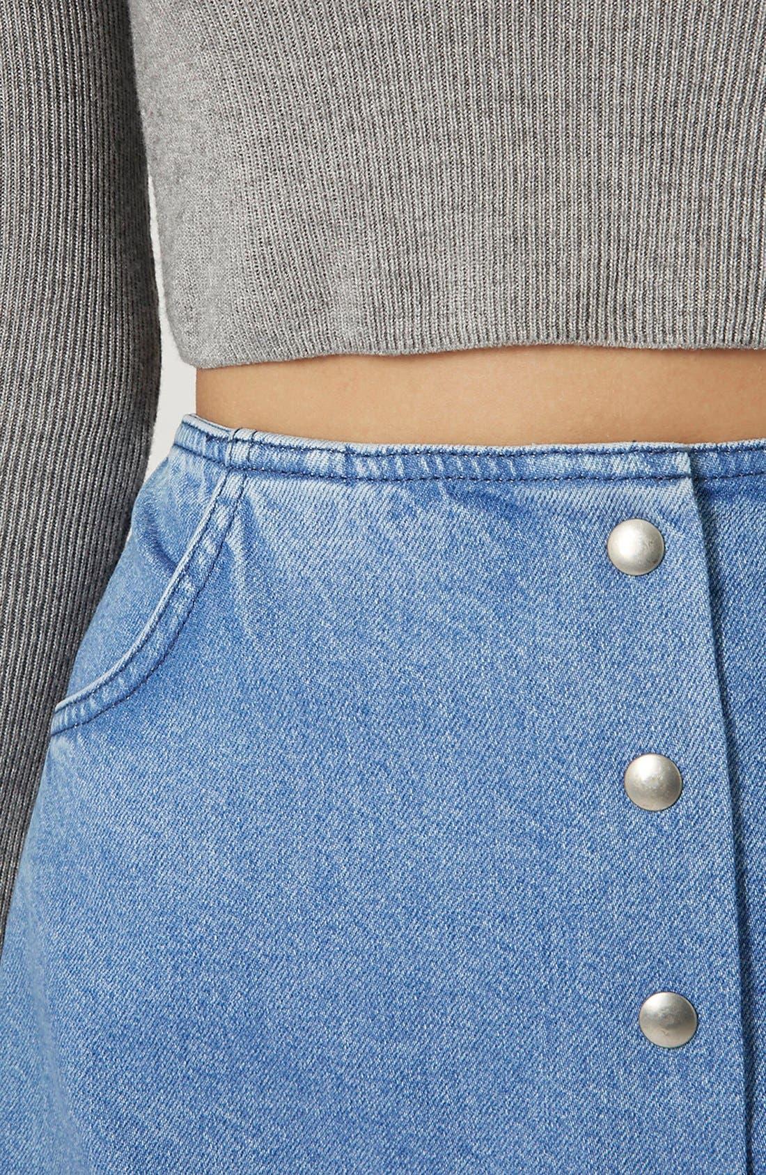 Alternate Image 4  - Topshop Moto Snap Front Denim Skirt (Brit Pop-In)