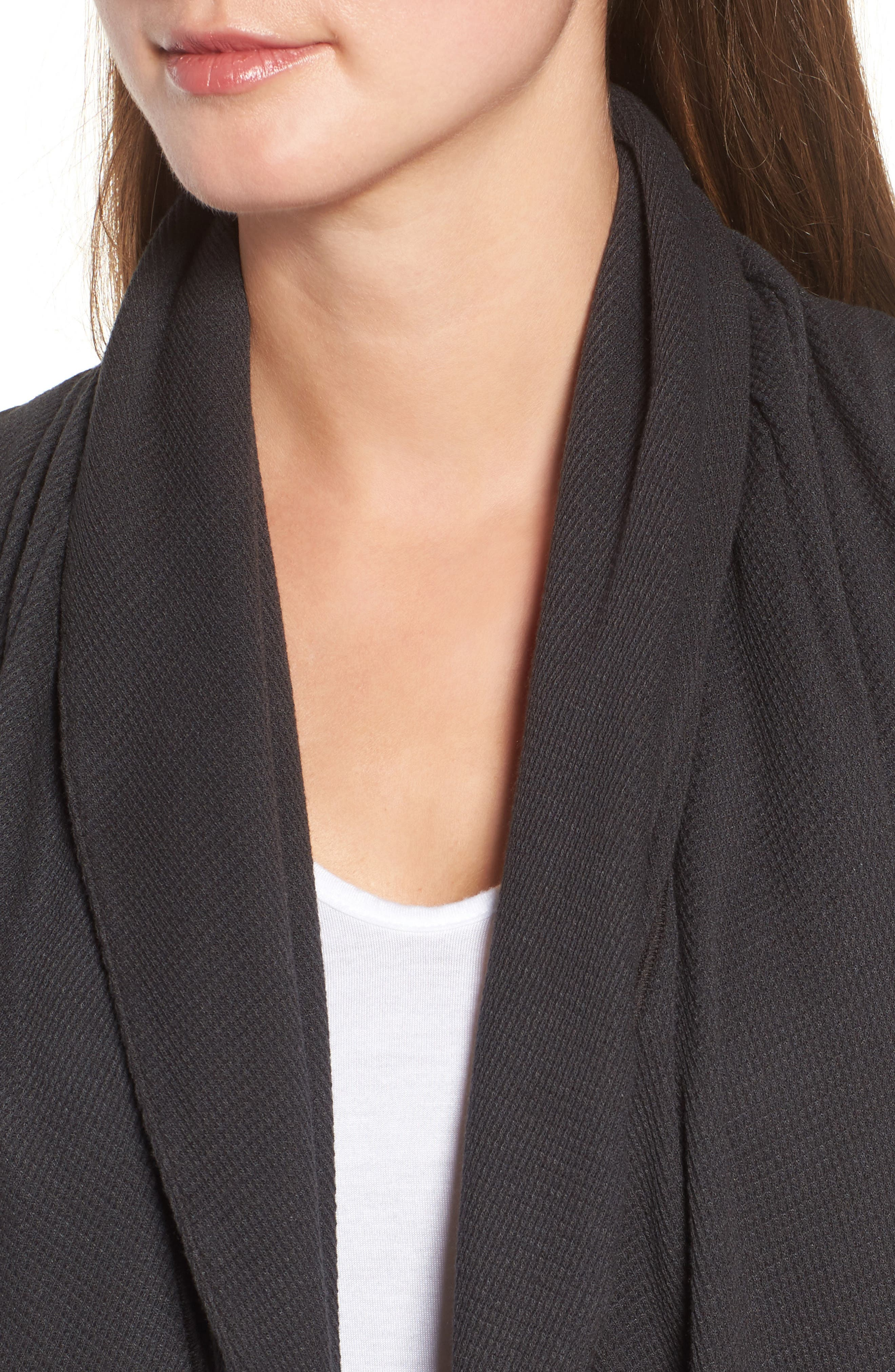 Baby Thermal Open Weave Cardigan,                             Alternate thumbnail 4, color,                             Ash Gray