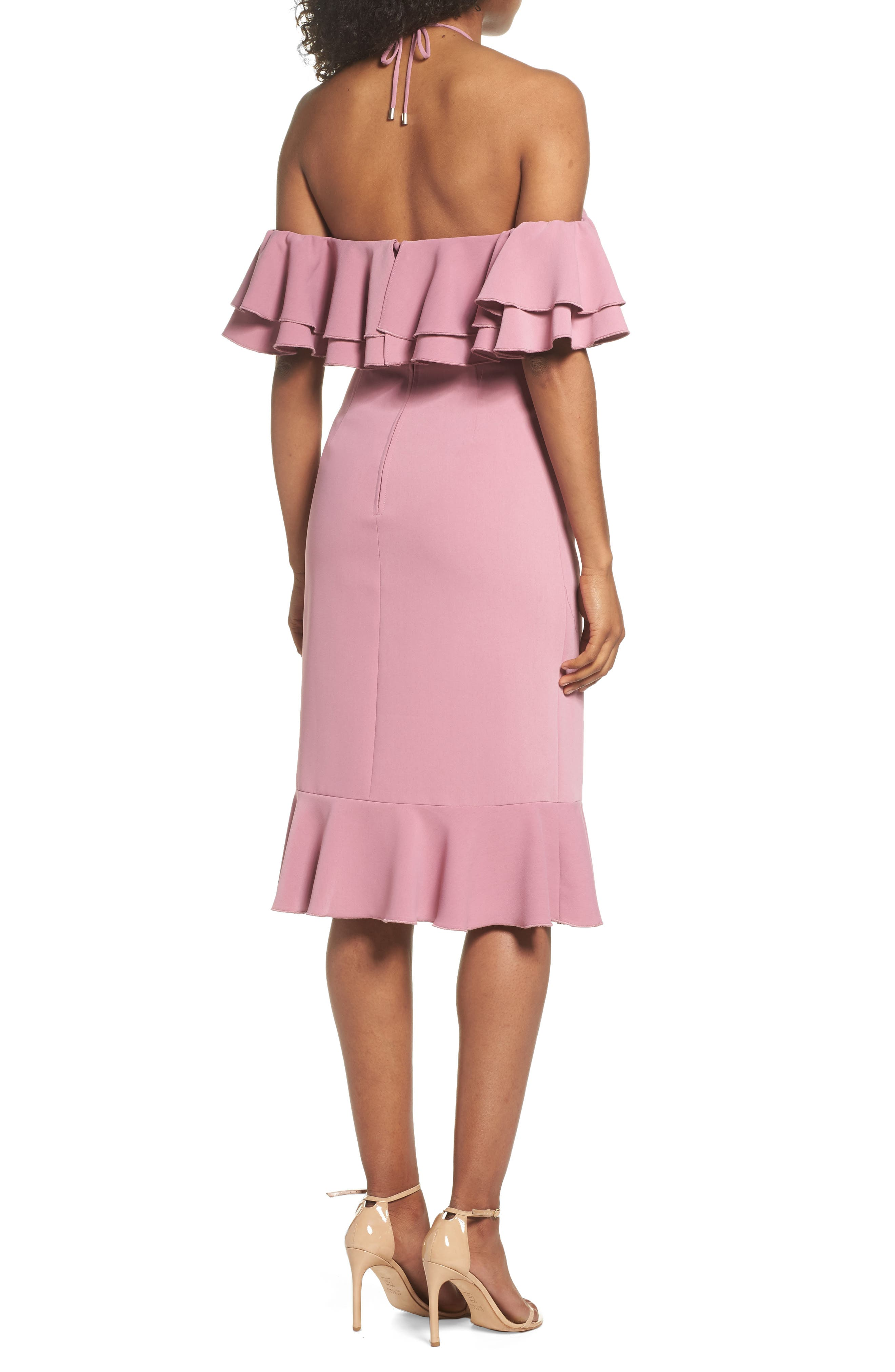 Temptation Ruffle Cold Shoulder Dress,                             Alternate thumbnail 3, color,                             Mulberry