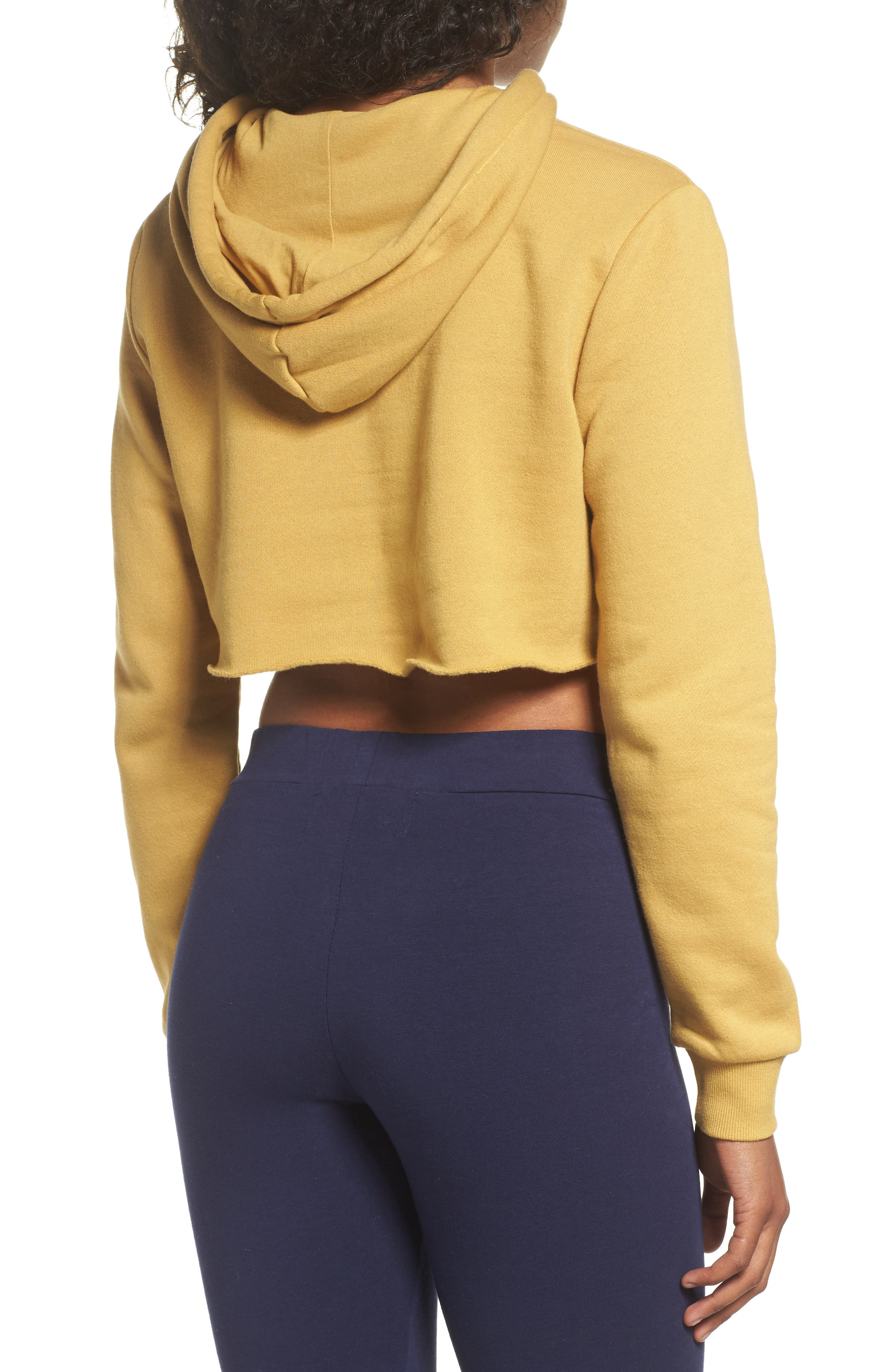 Pam Crop Hoodie,                             Alternate thumbnail 2, color,                             Mustard Gold/ Navy/ White