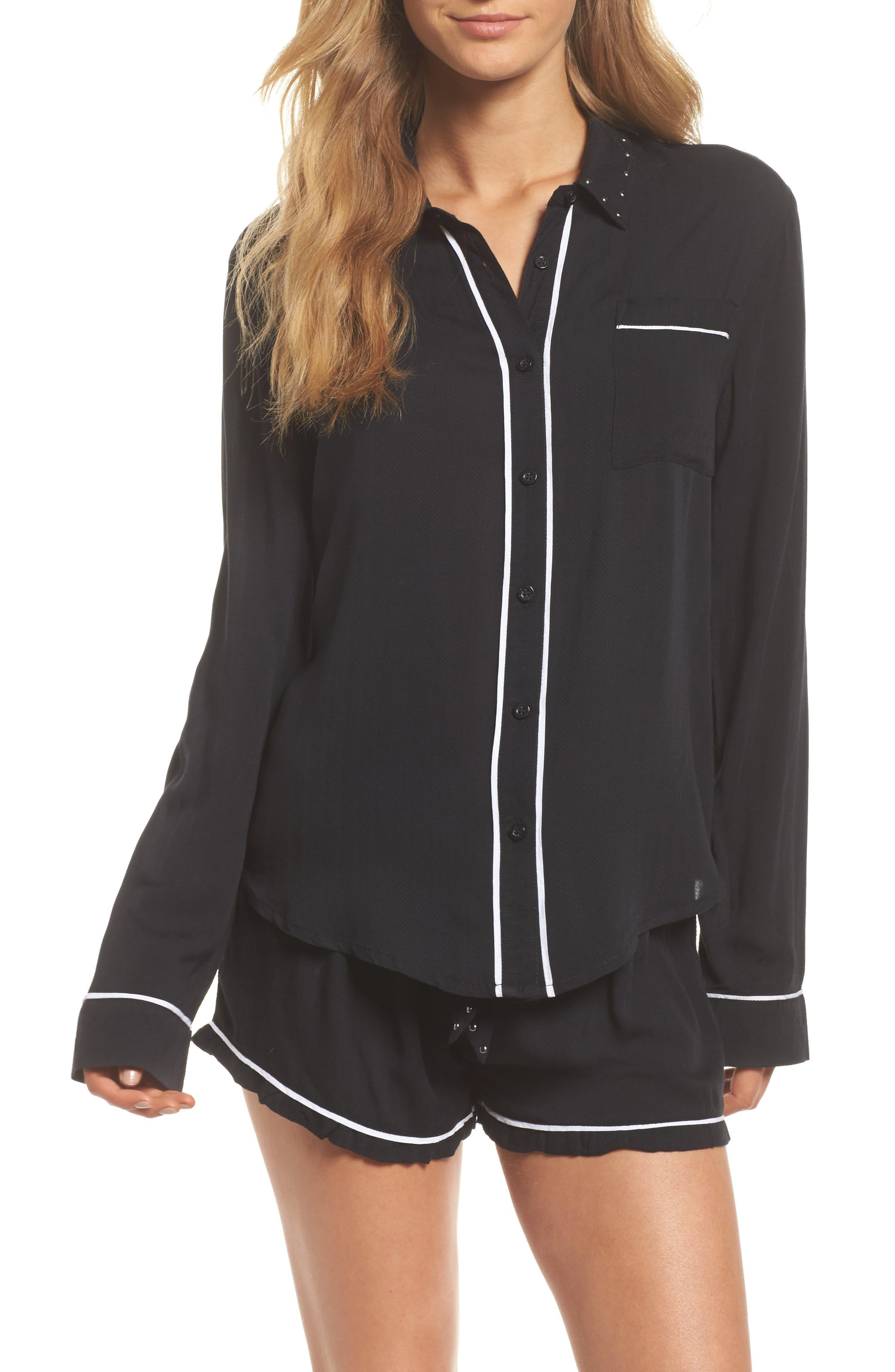 Short Pajamas,                             Main thumbnail 1, color,                             Black