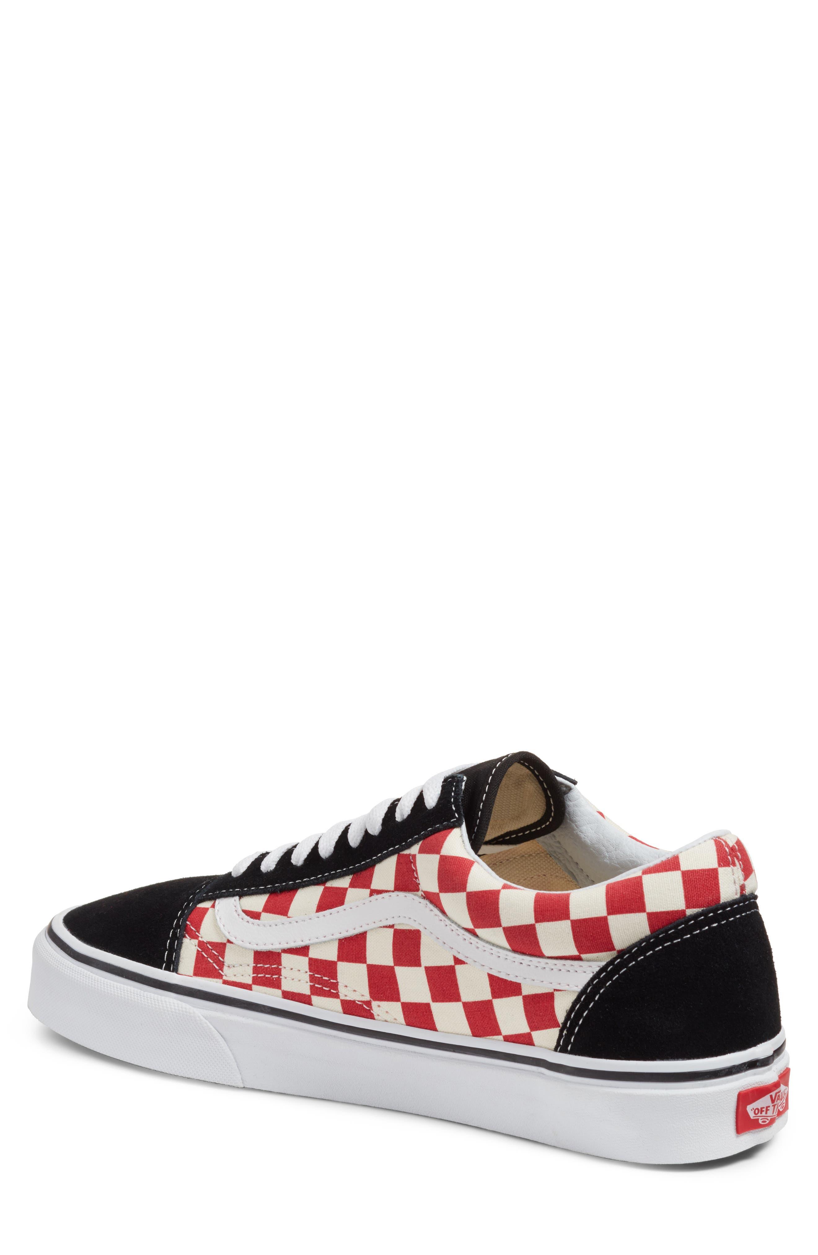 Old Skool Sneaker,                             Alternate thumbnail 2, color,                             Black/ Red Checkerboard