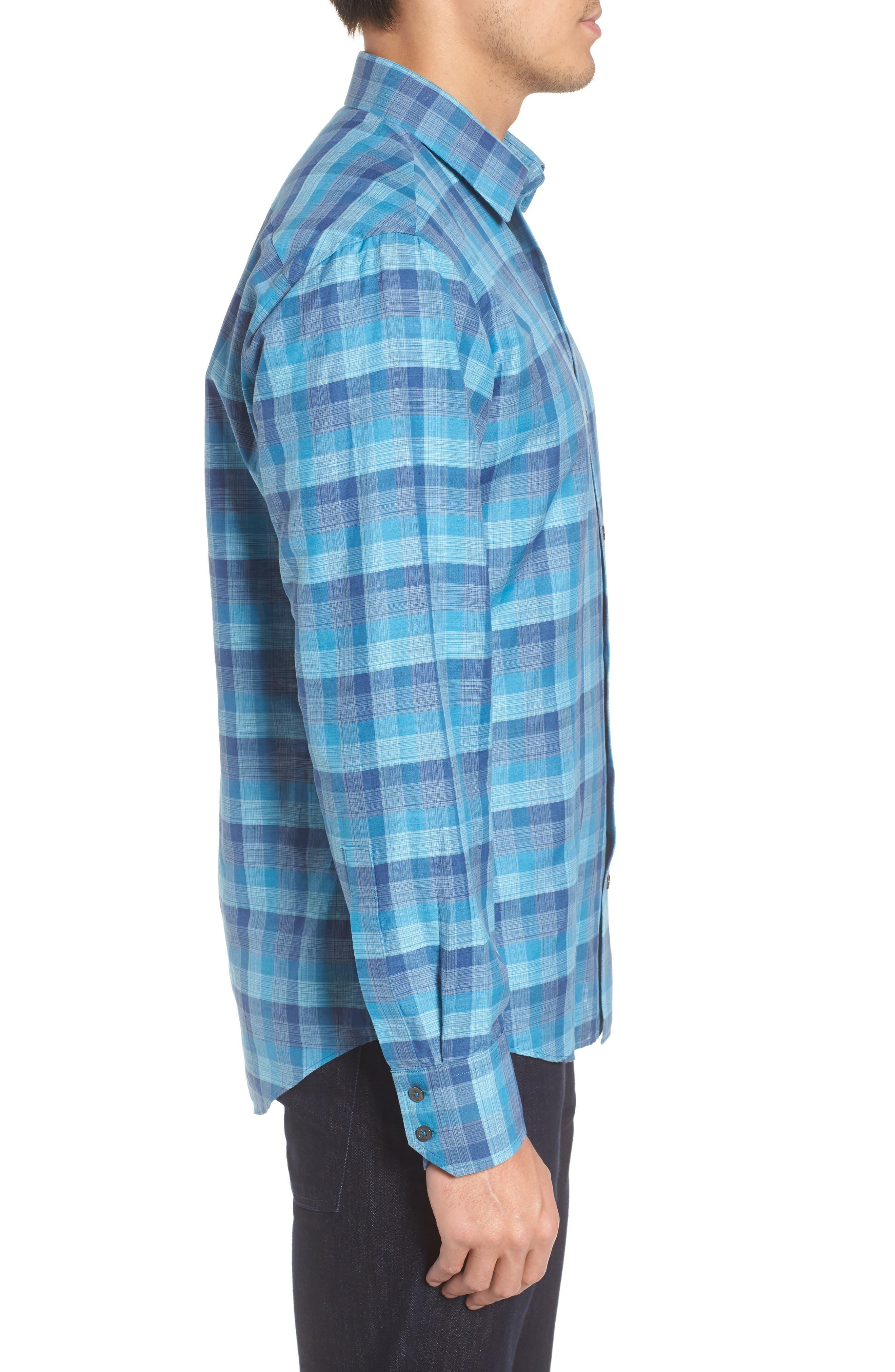 Maverick Plaid Linen Blend Sport Shirt,                             Alternate thumbnail 3, color,                             Teal