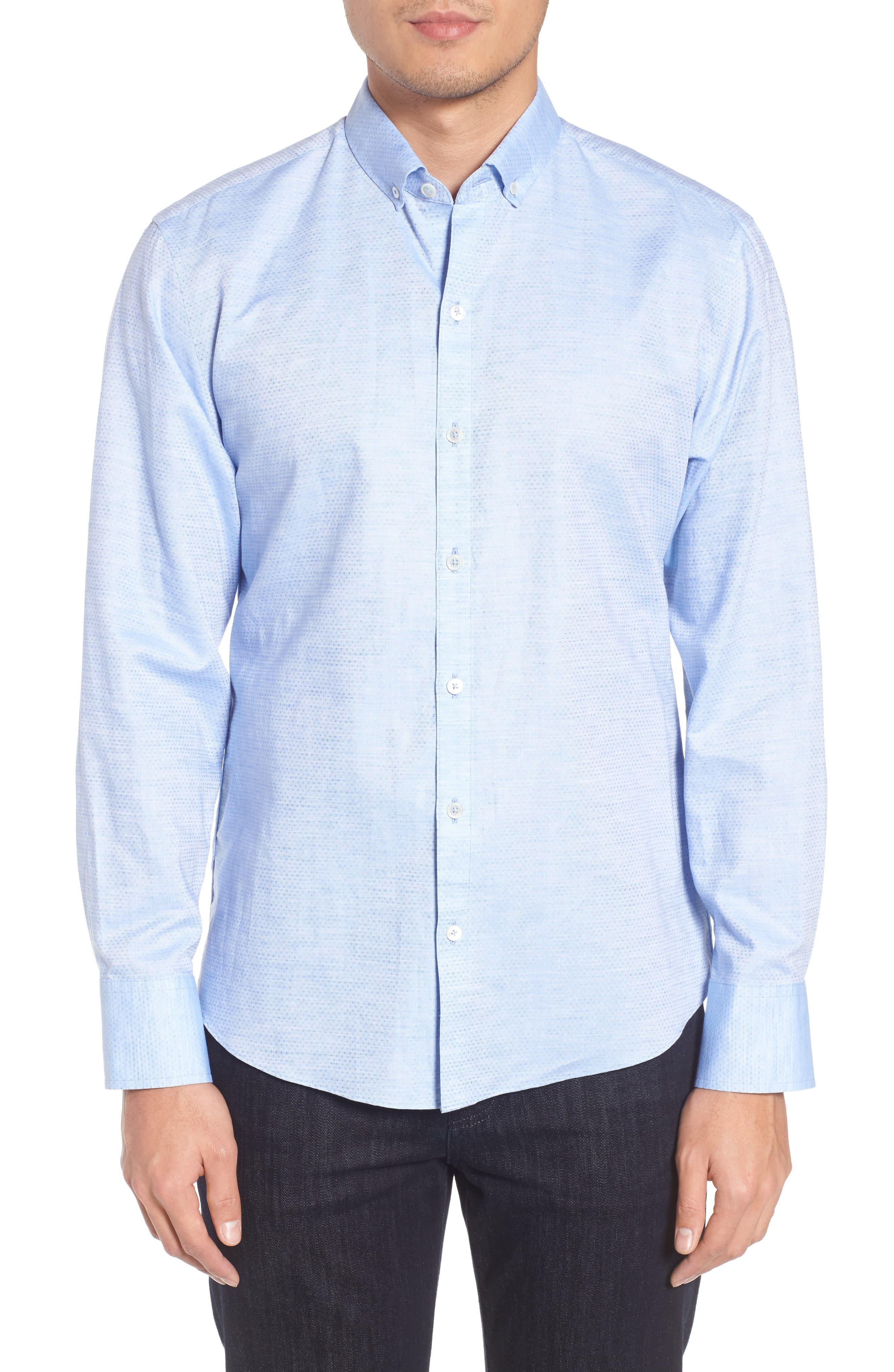 Gomis Regular Fit Dobby Sport Shirt,                         Main,                         color, Light Blue
