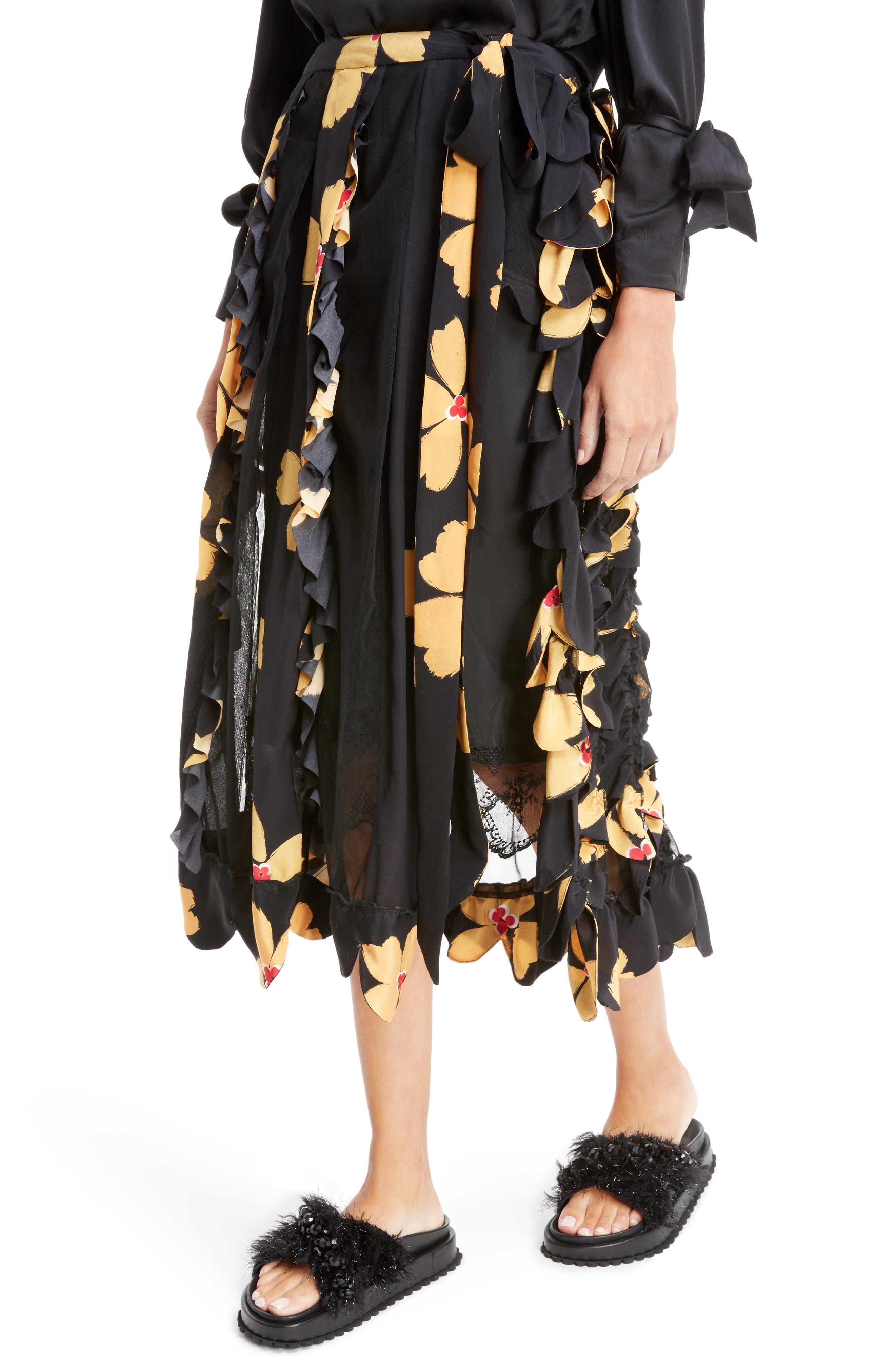 Alternate Image 4  - Simone Rocha Turbo Pleat Floral Silk Wrap Skirt