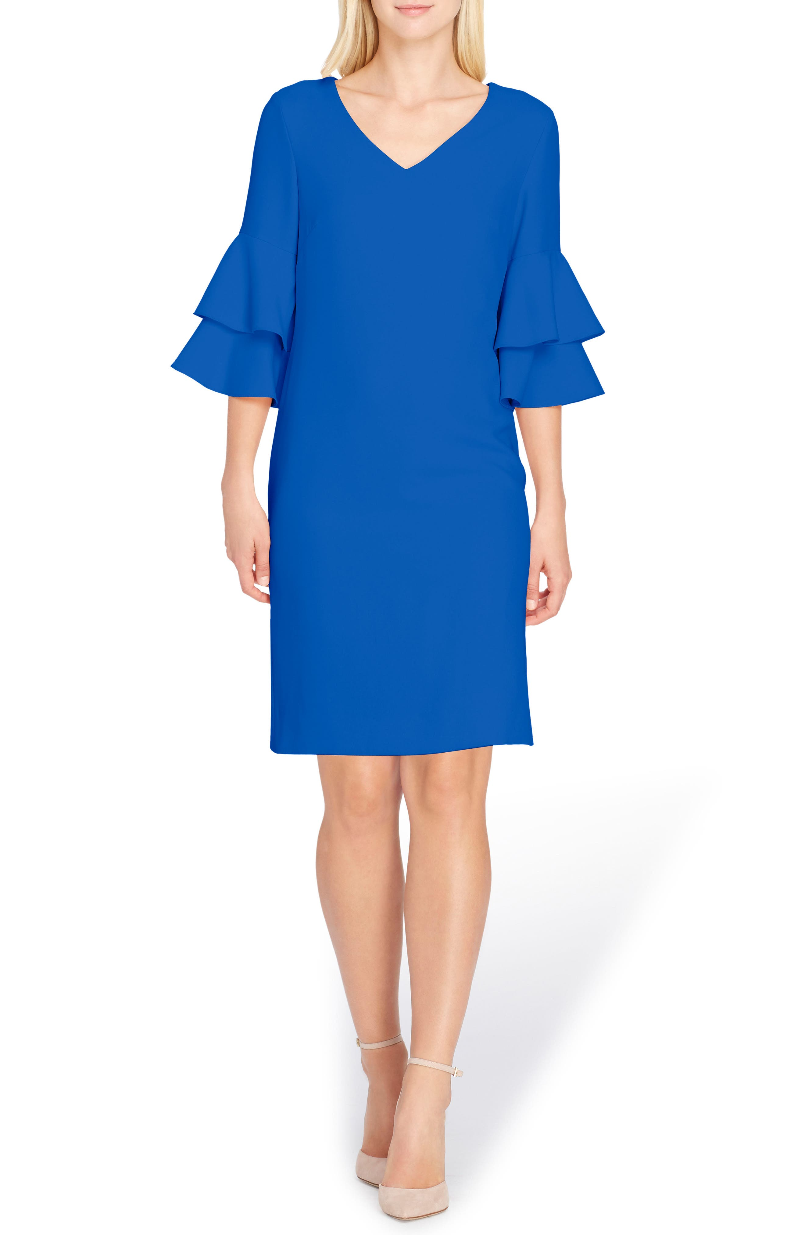 Ruffle Sleeve Shift Dress,                         Main,                         color, Lapis