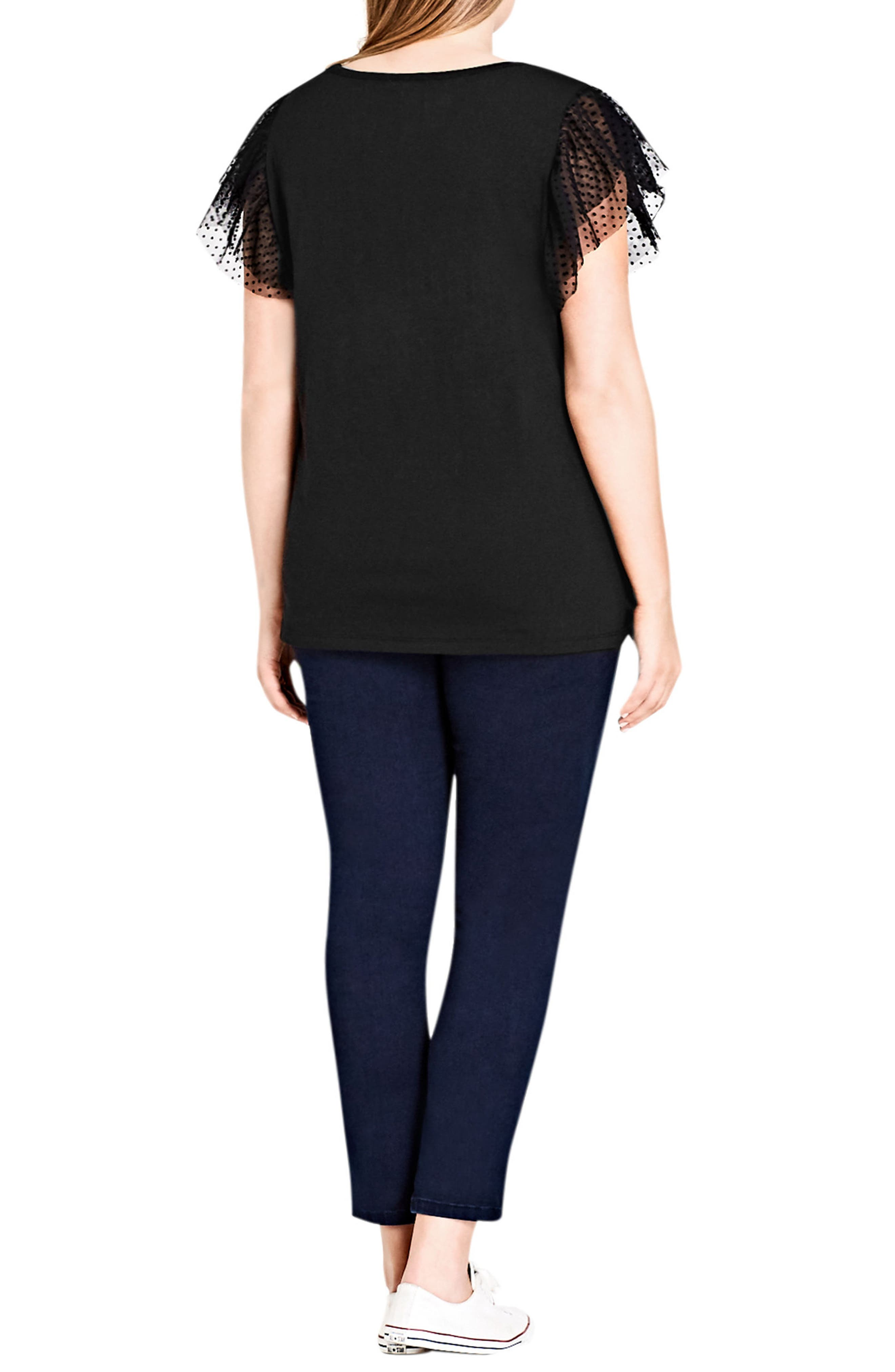 Polka Flock Flutter Sleeve Tee,                             Alternate thumbnail 2, color,                             Black